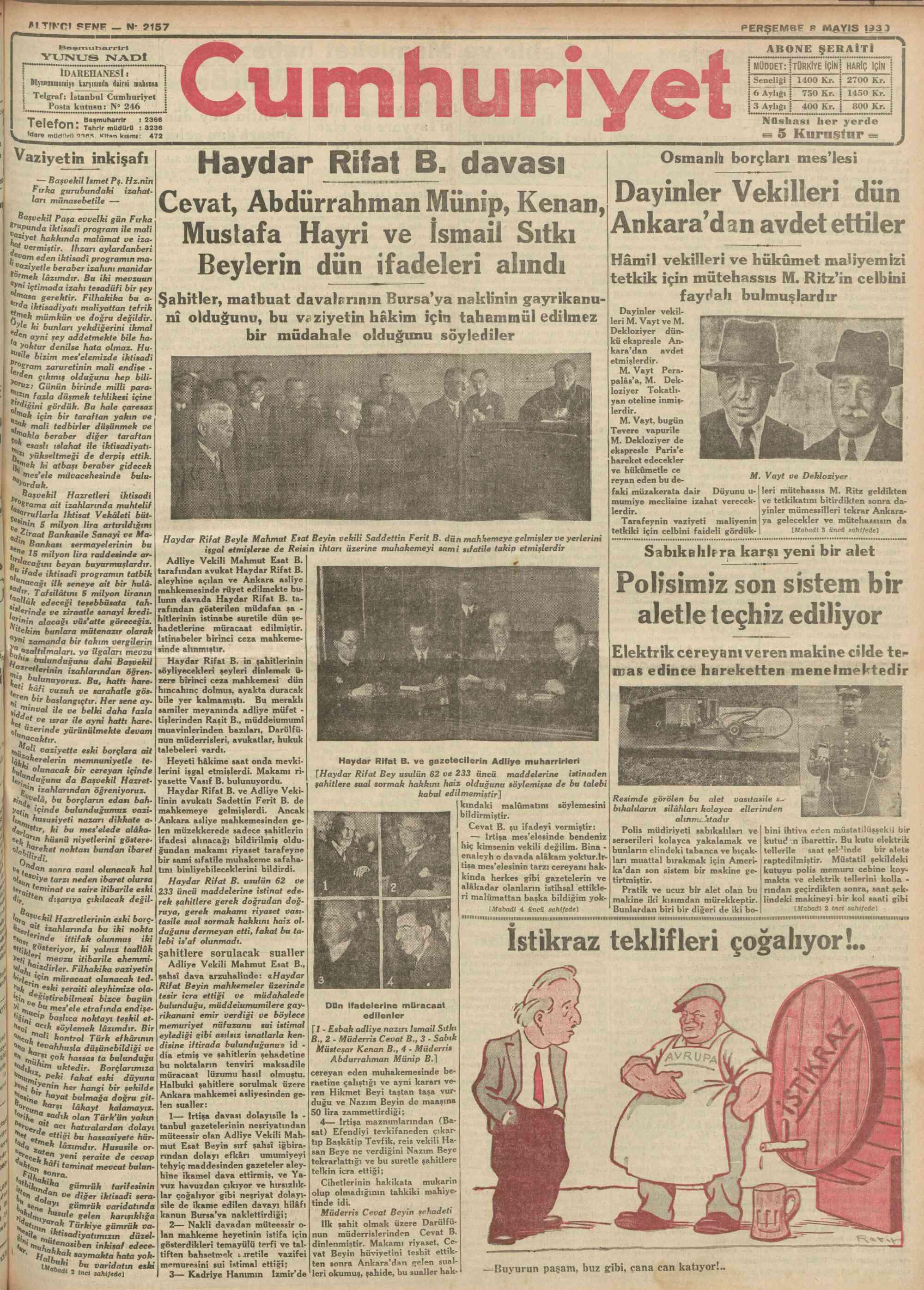 8 Mayıs 1930 tarihli Cumhuriyet Gazetesi Sayfa 1