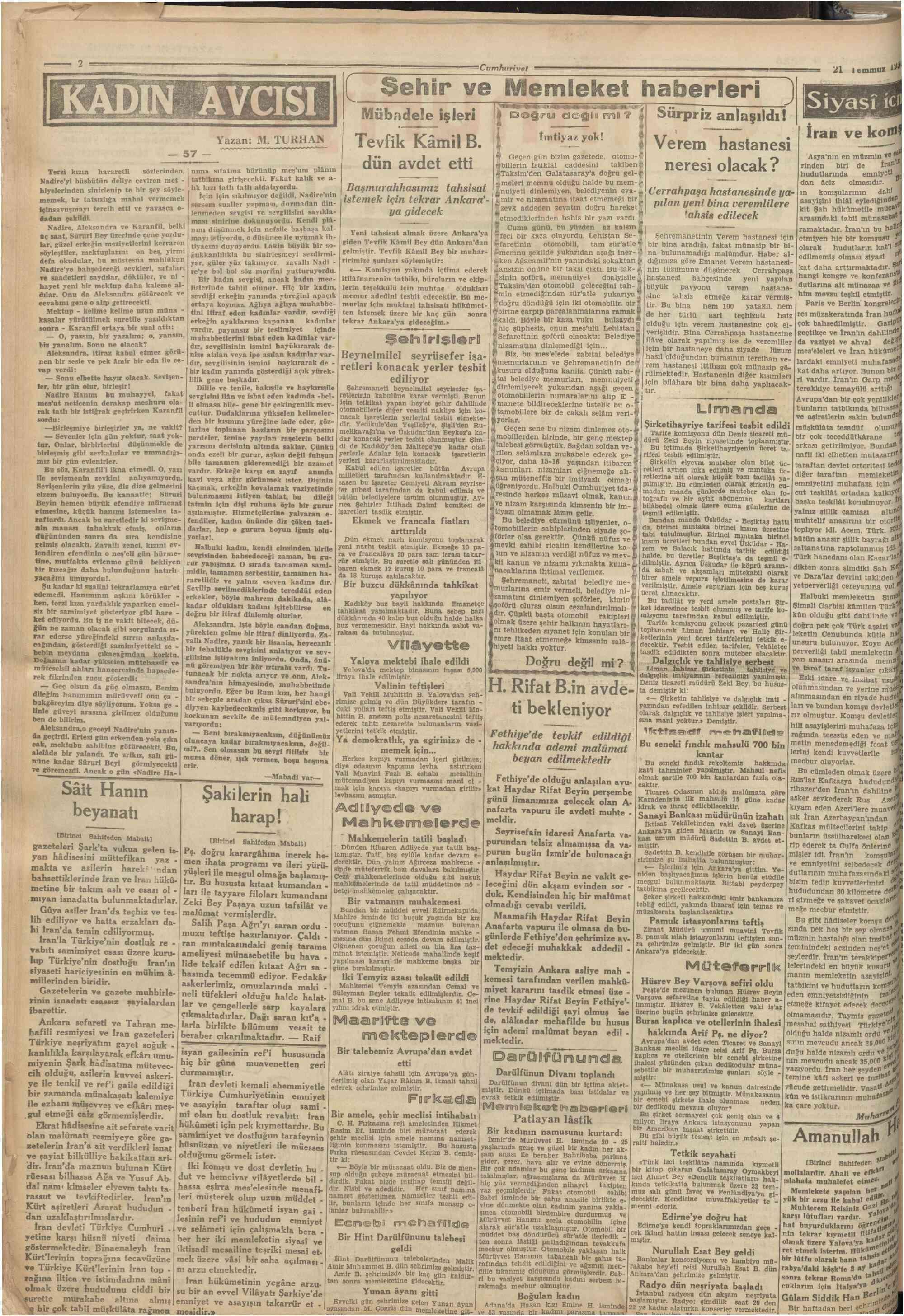 21 Temmuz 1930 Tarihli Cumhuriyet Gazetesi Sayfa 2