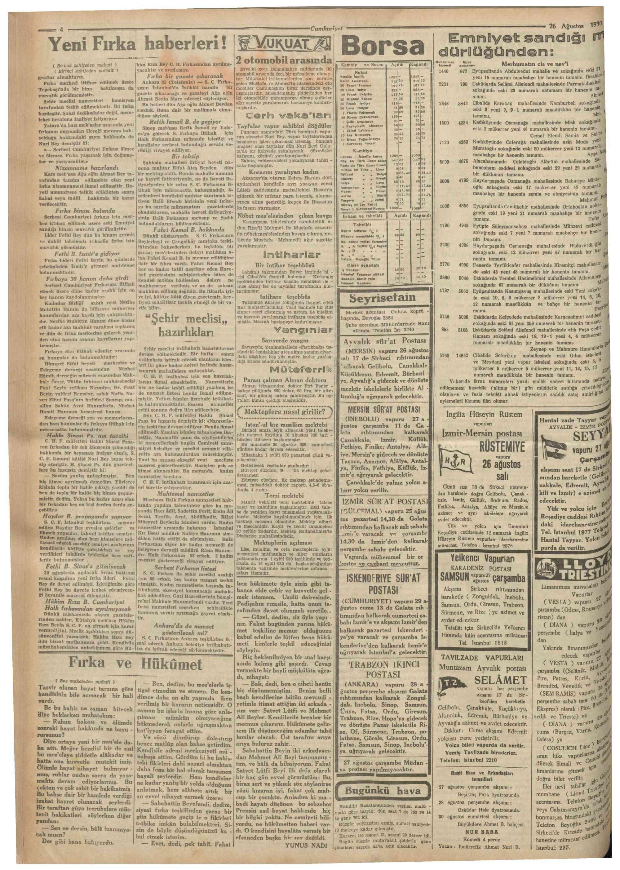 26 Ağustos 1930 Tarihli Cumhuriyet Dergisi Sayfa 4