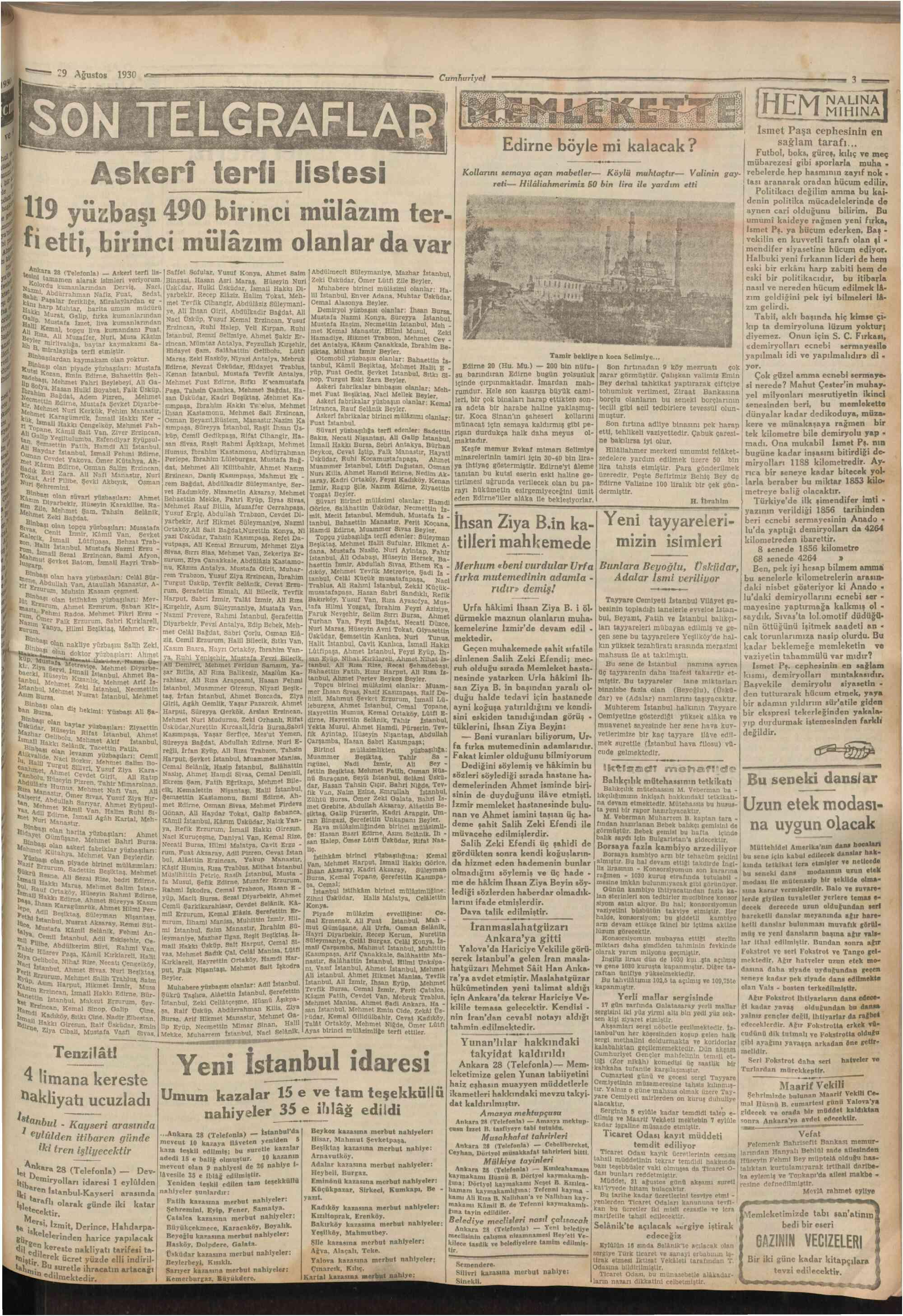 29 Ağustos 1930 Tarihli Cumhuriyet Gazetesi Sayfa 3