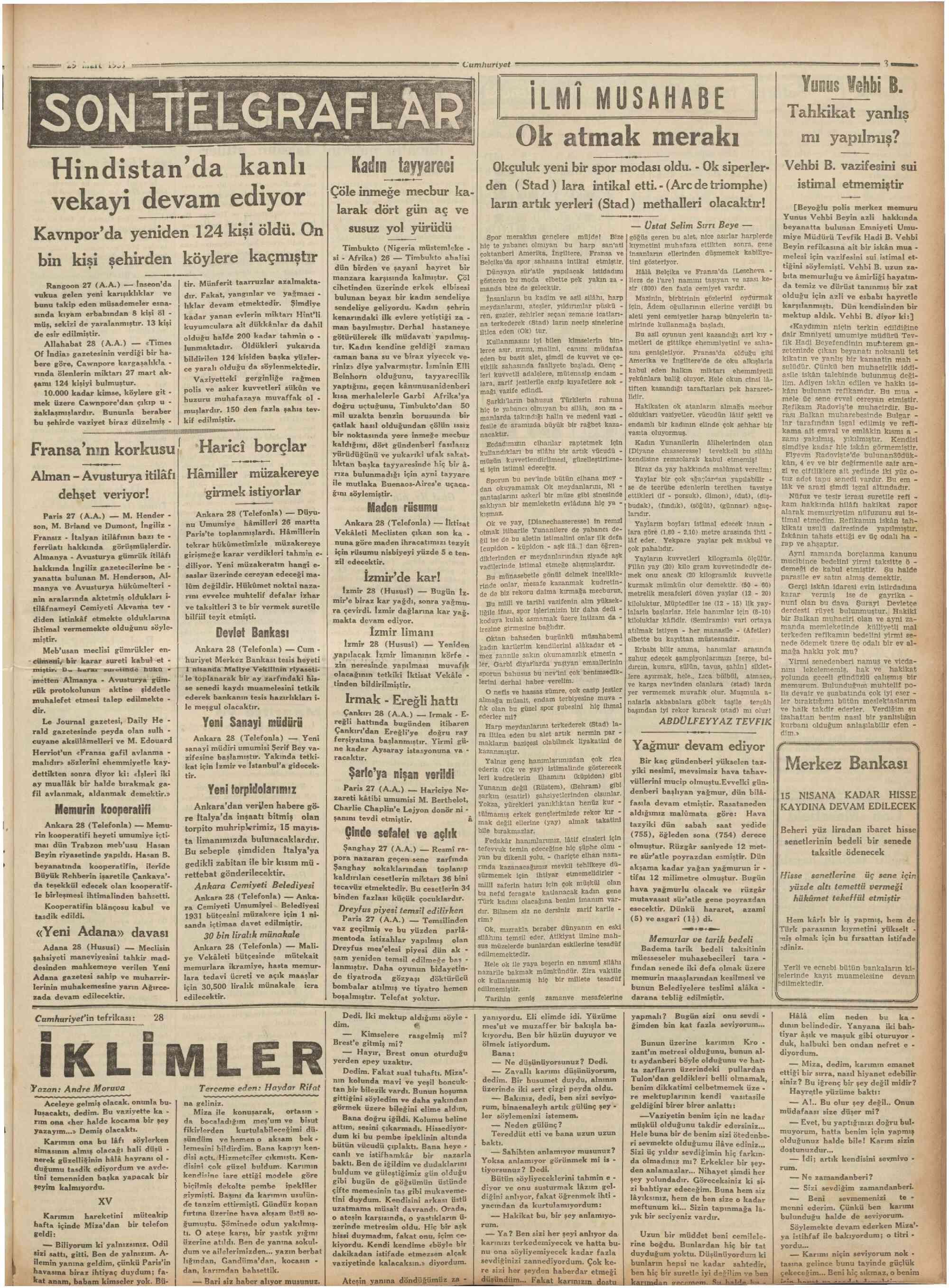 29 Mart 1931 Tarihli Cumhuriyet Gazetesi Sayfa 3