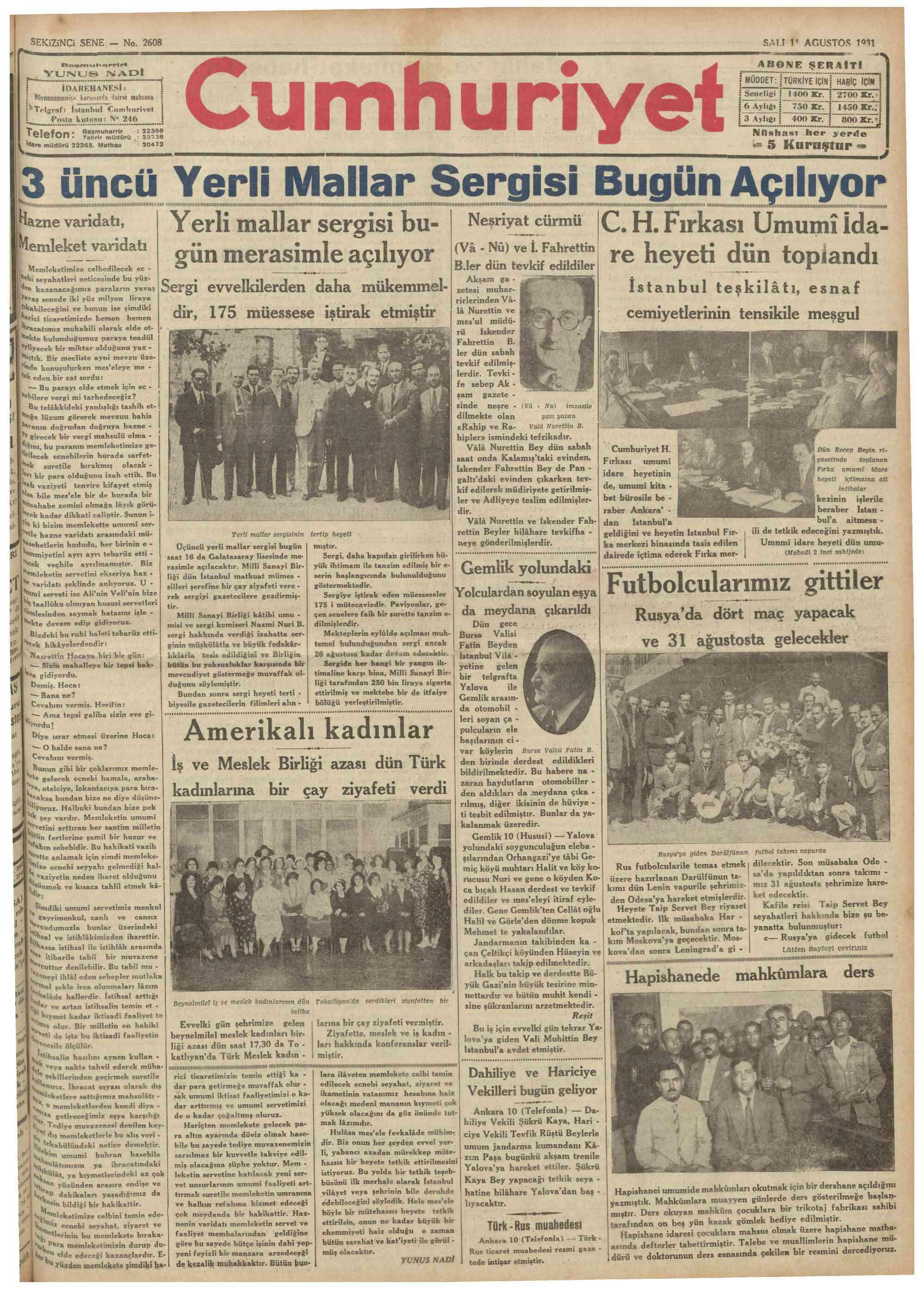 11 Ağustos 1931 Tarihli Cumhuriyet Gazetesi Sayfa 1