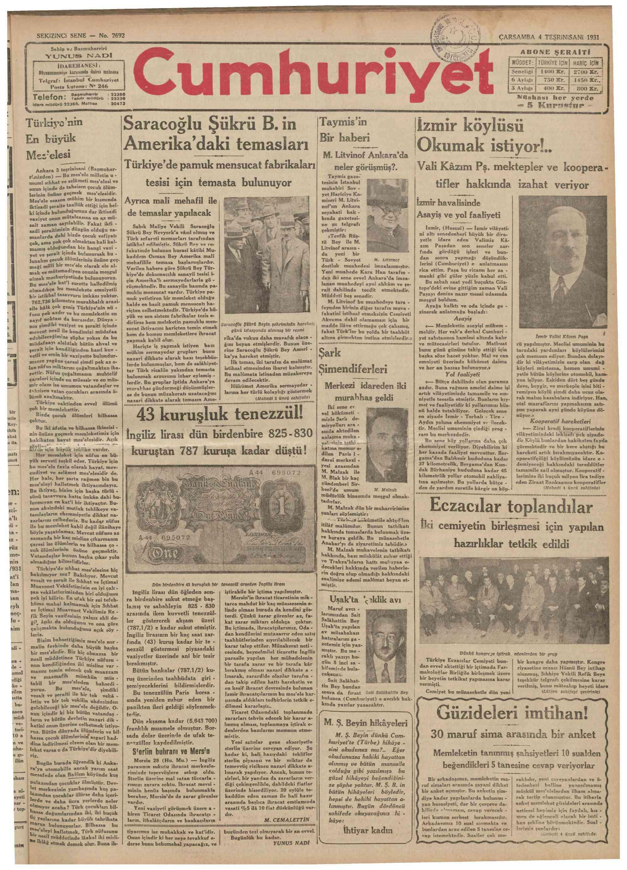 4 Kasım 1931 tarihli Cumhuriyet Gazetesi Sayfa 1
