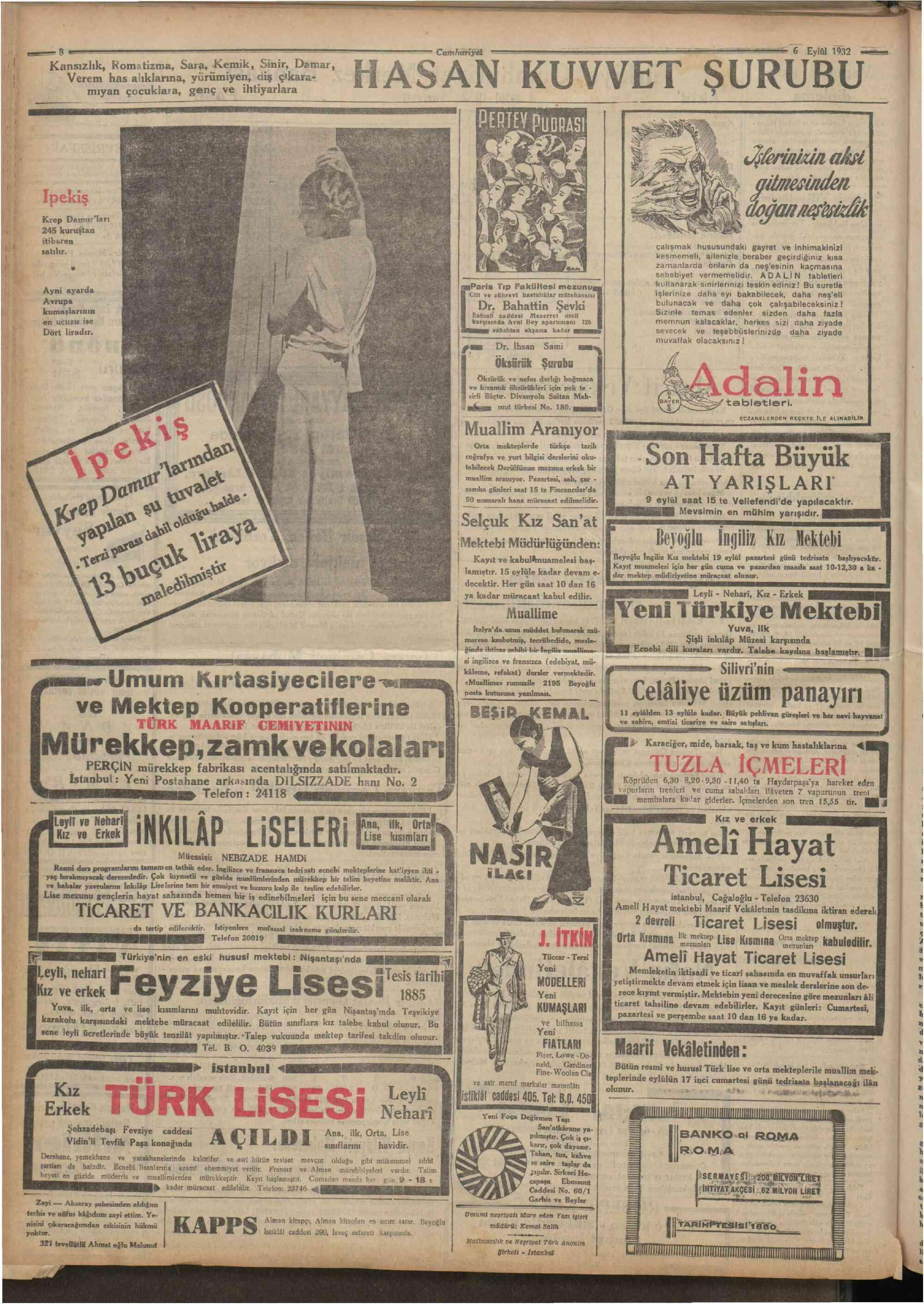 6 Eylül 1932 Tarihli Cumhuriyet Dergisi Sayfa 8