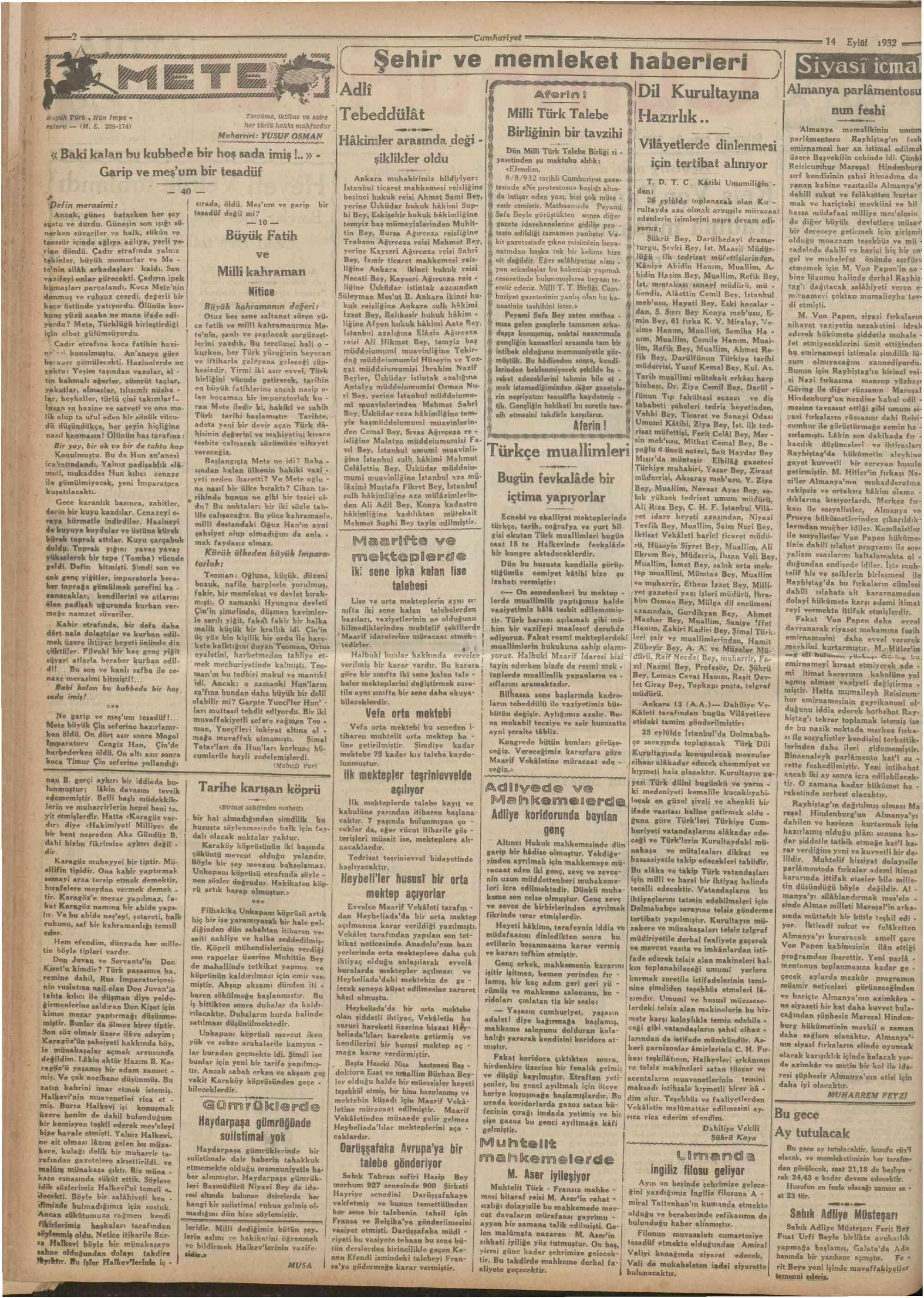 14 Eylül 1932 Tarihli Cumhuriyet Dergisi Sayfa 2