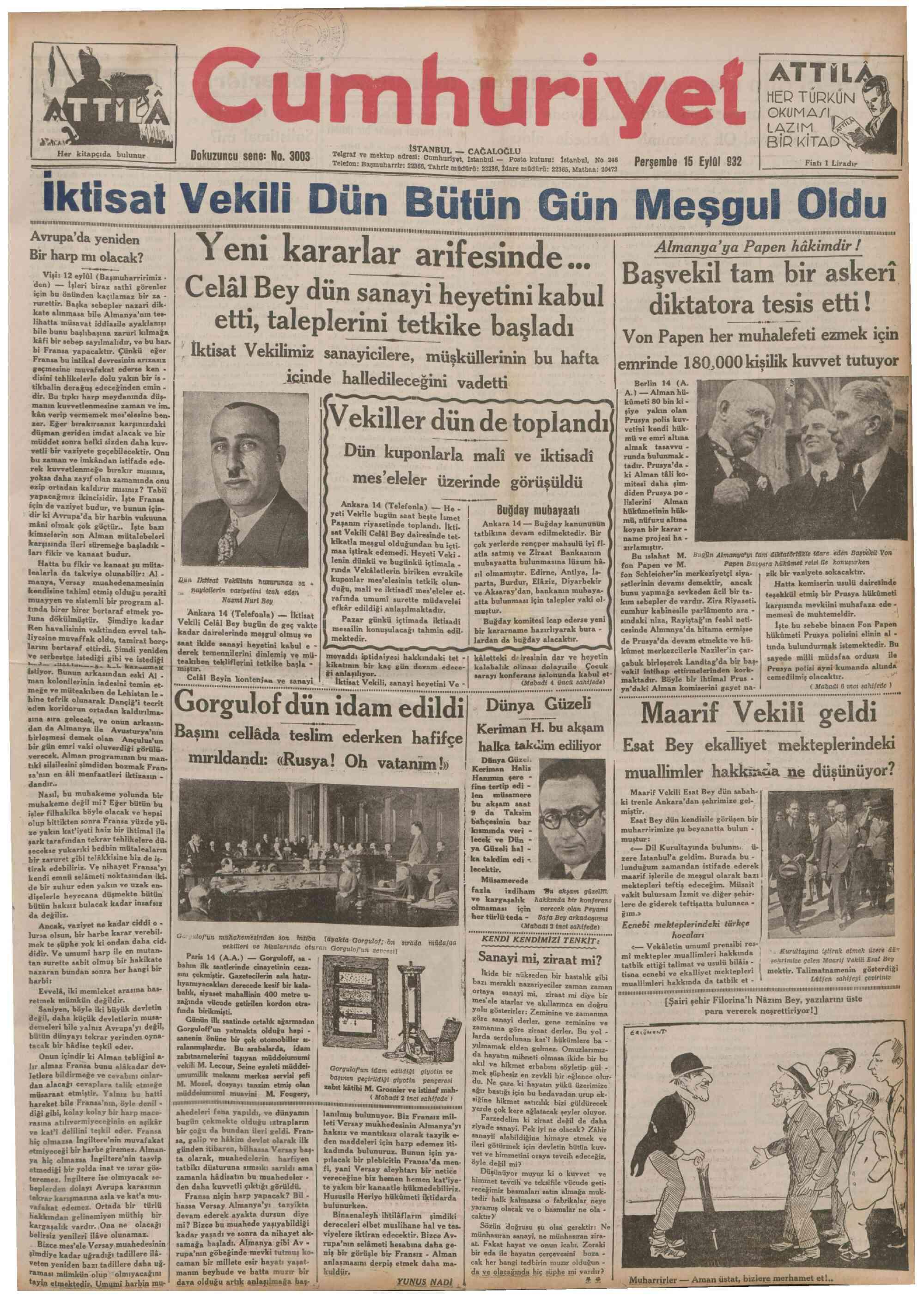15 Eylül 1932 Tarihli Cumhuriyet Gazetesi Sayfa 1
