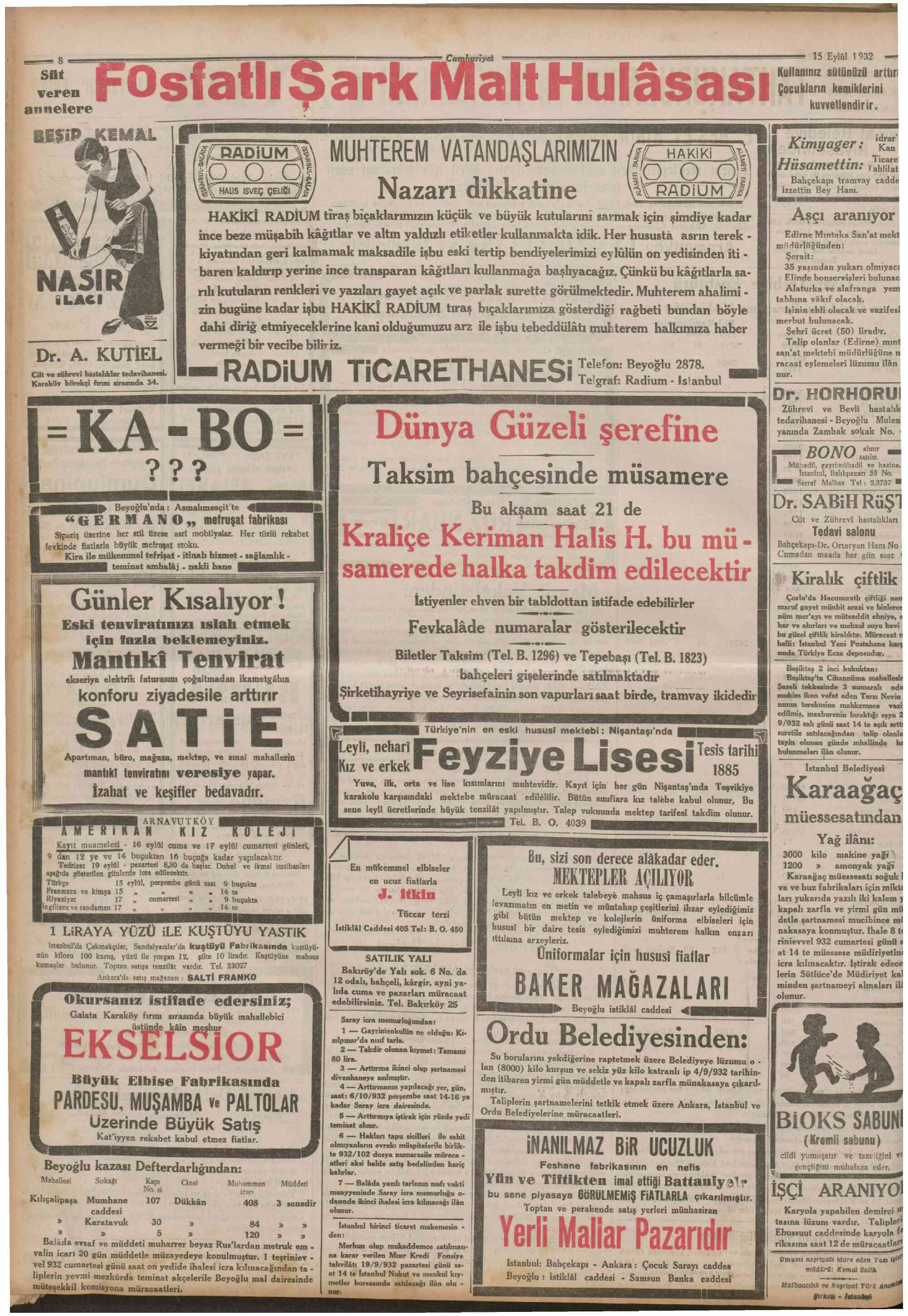 September 15, 1932 Tarihli Cumhuriyet Gazetesi Sayfa 8