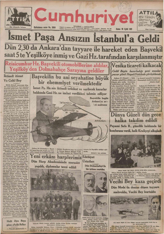 16 Eylül 1932 Tarihli Cumhuriyet Gazetesi Sayfa 1