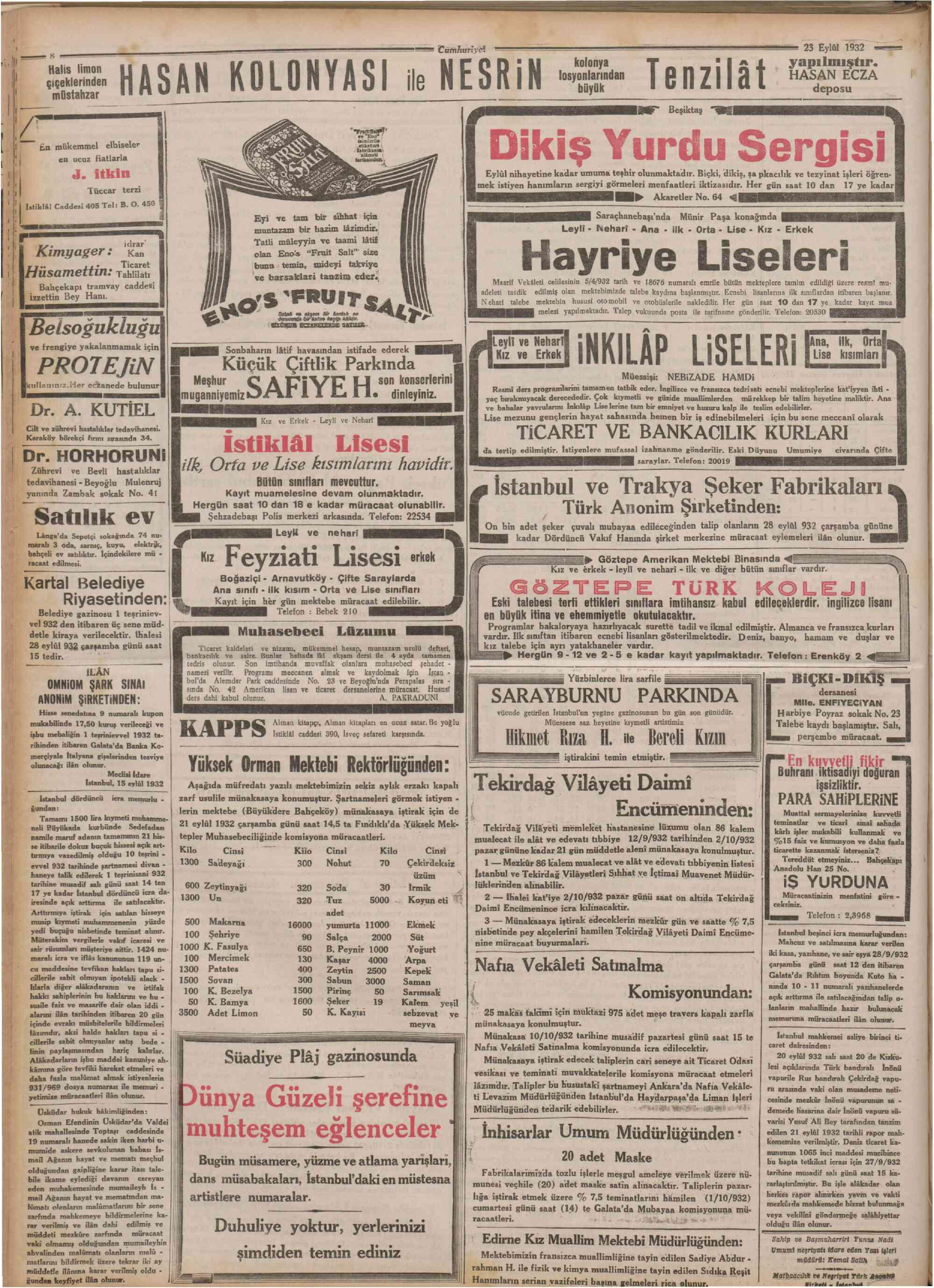 23 Eylül 1932 Tarihli Cumhuriyet Dergisi Sayfa 8