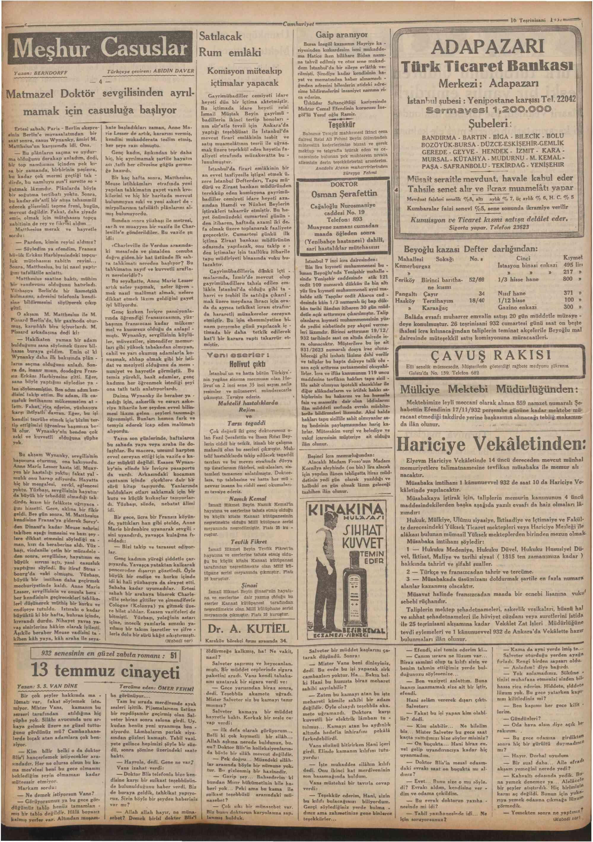16 Kasım 1932 Tarihli Cumhuriyet Dergisi Sayfa 6