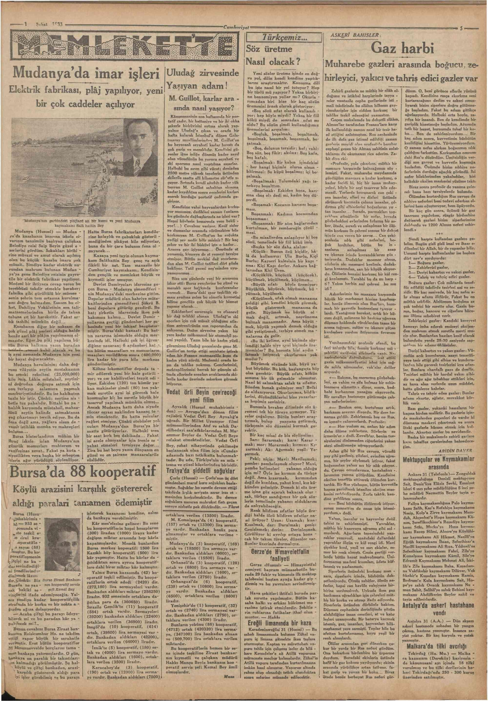 1 Şubat 1933 Tarihli Cumhuriyet Dergisi Sayfa 5