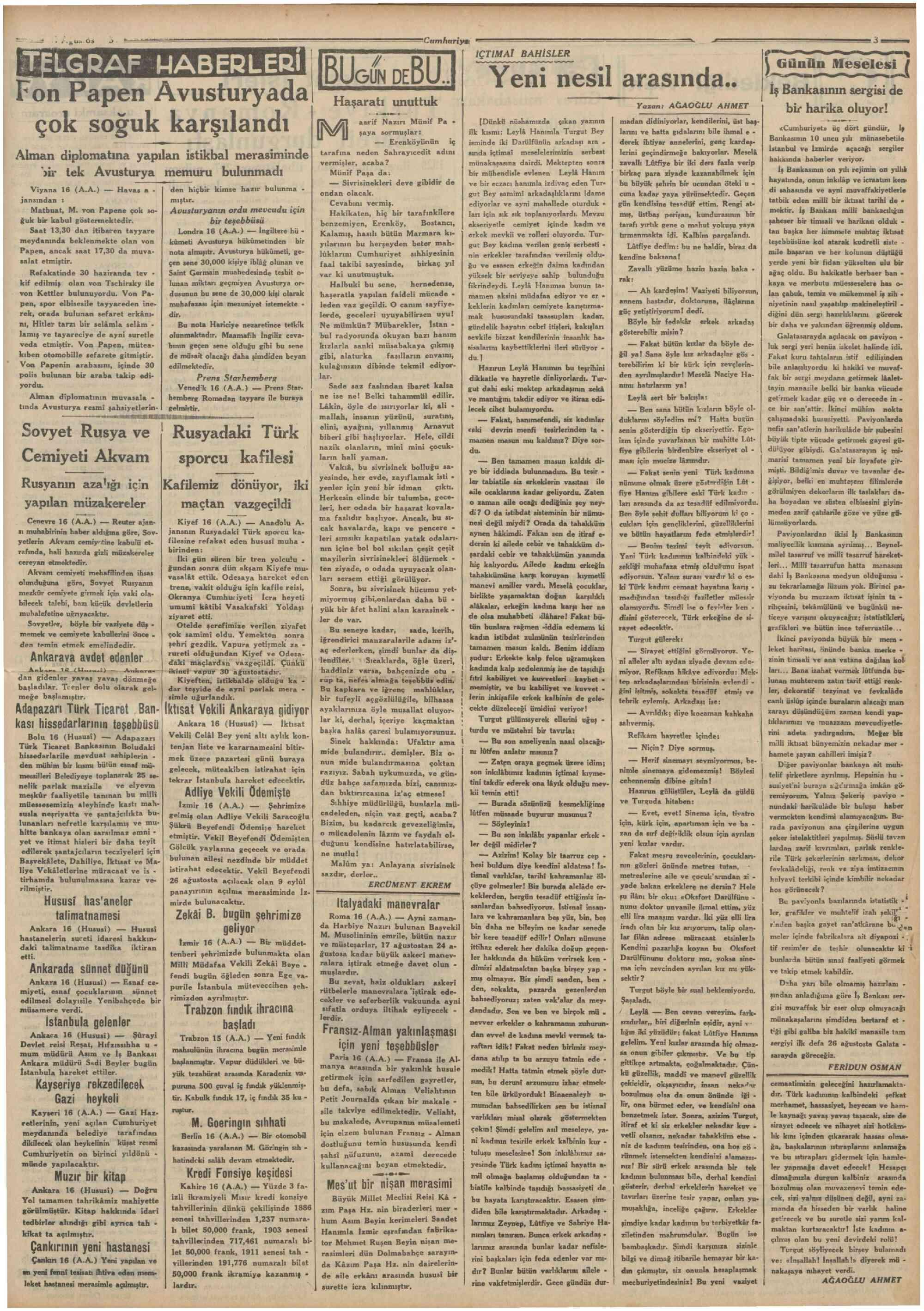 17 Ağustos 1934 Tarihli Cumhuriyet Gazetesi Sayfa 3