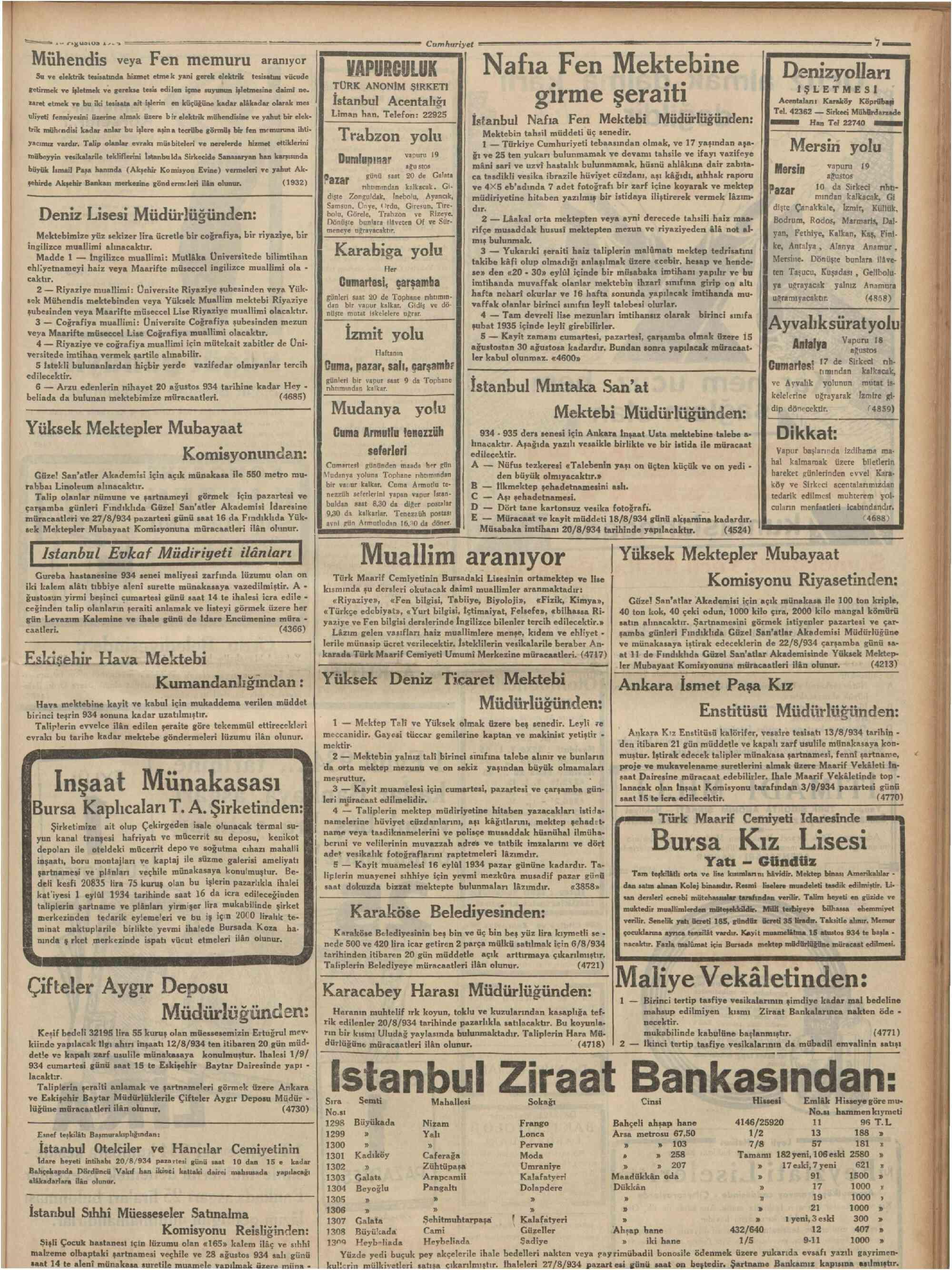 18 Ağustos 1934 Tarihli Cumhuriyet Dergisi Sayfa 7