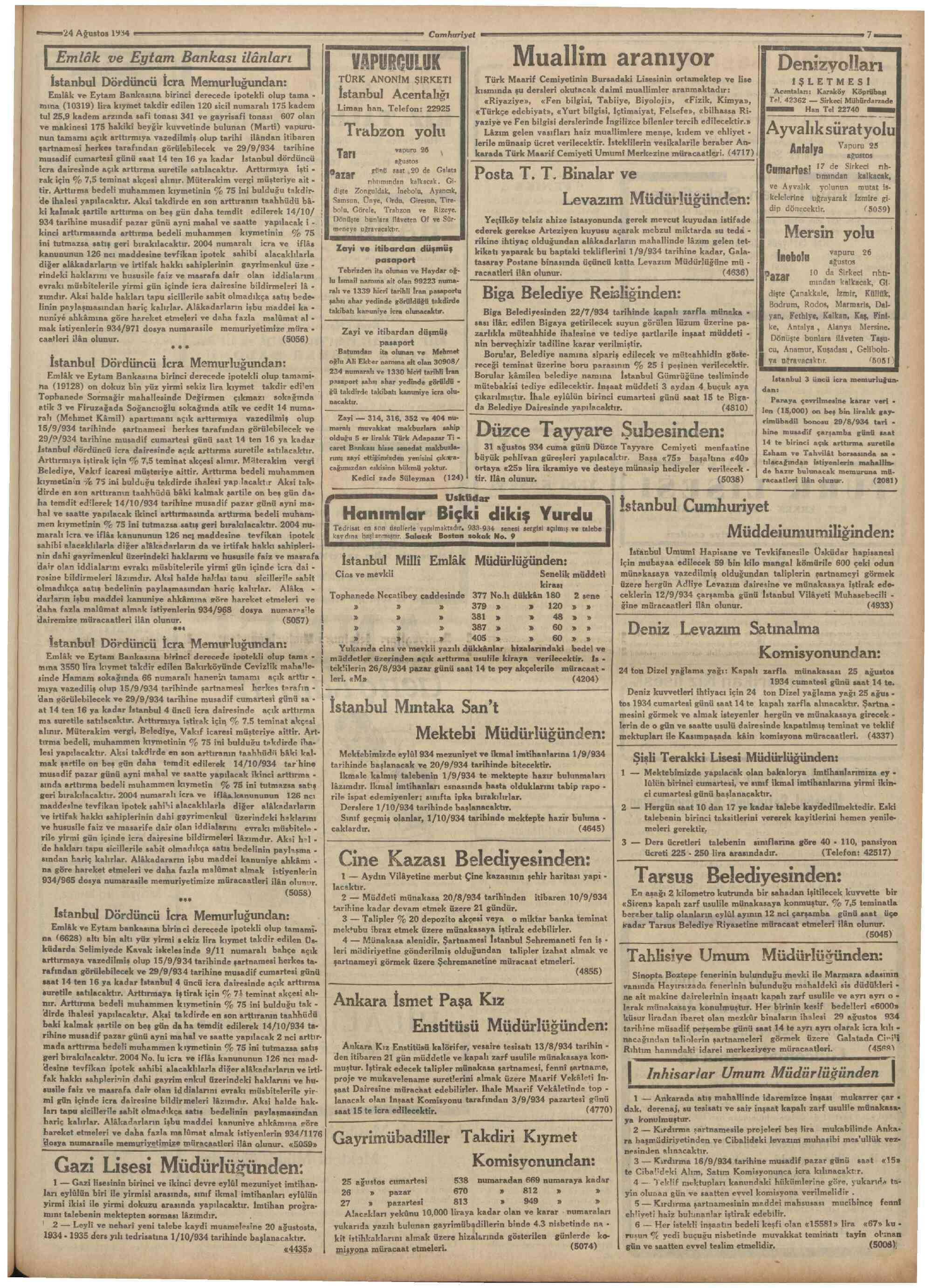 24 Ağustos 1934 Tarihli Cumhuriyet Dergisi Sayfa 7