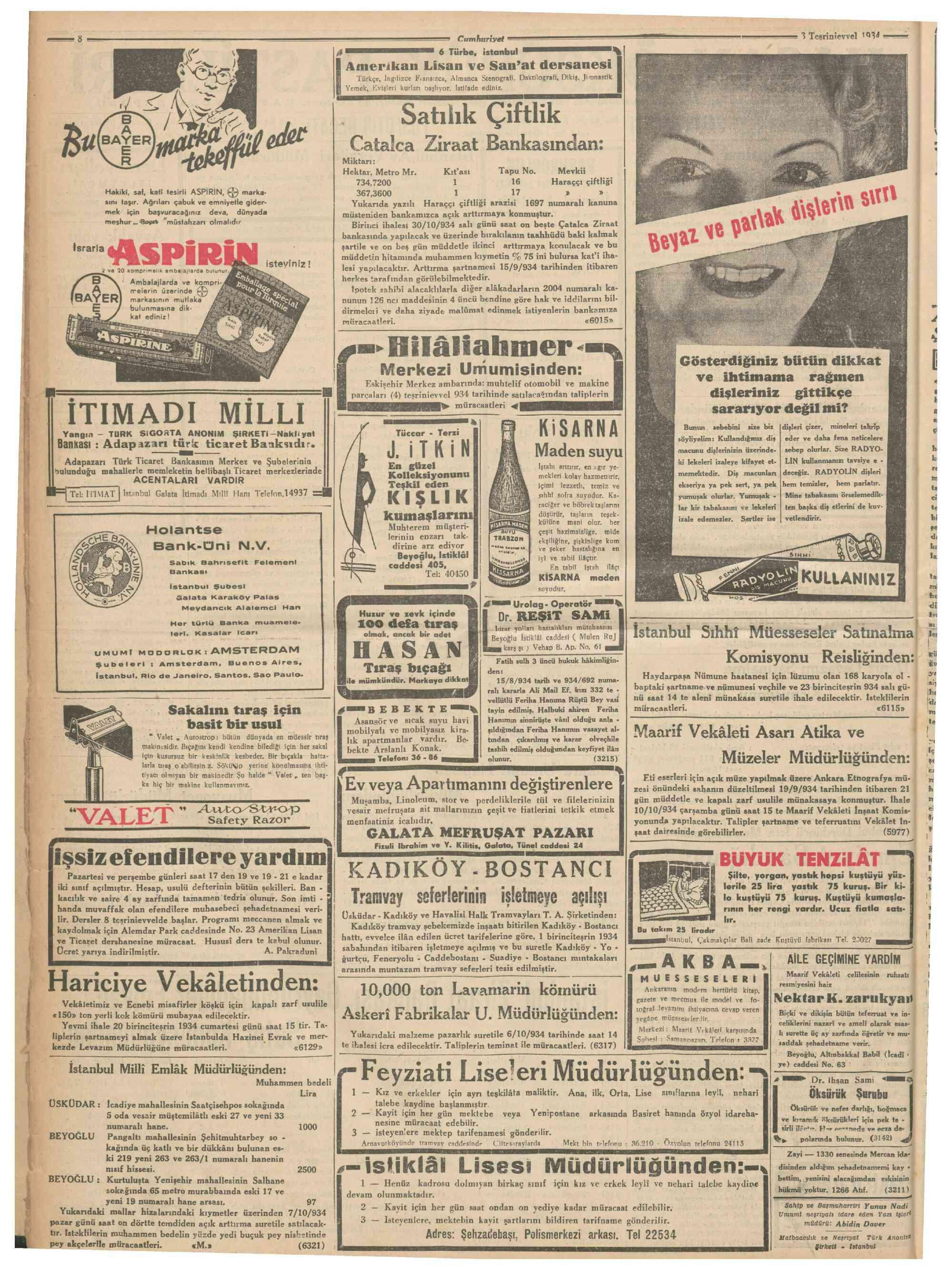 4 Ekim 1934 Tarihli Cumhuriyet Dergisi Sayfa 1