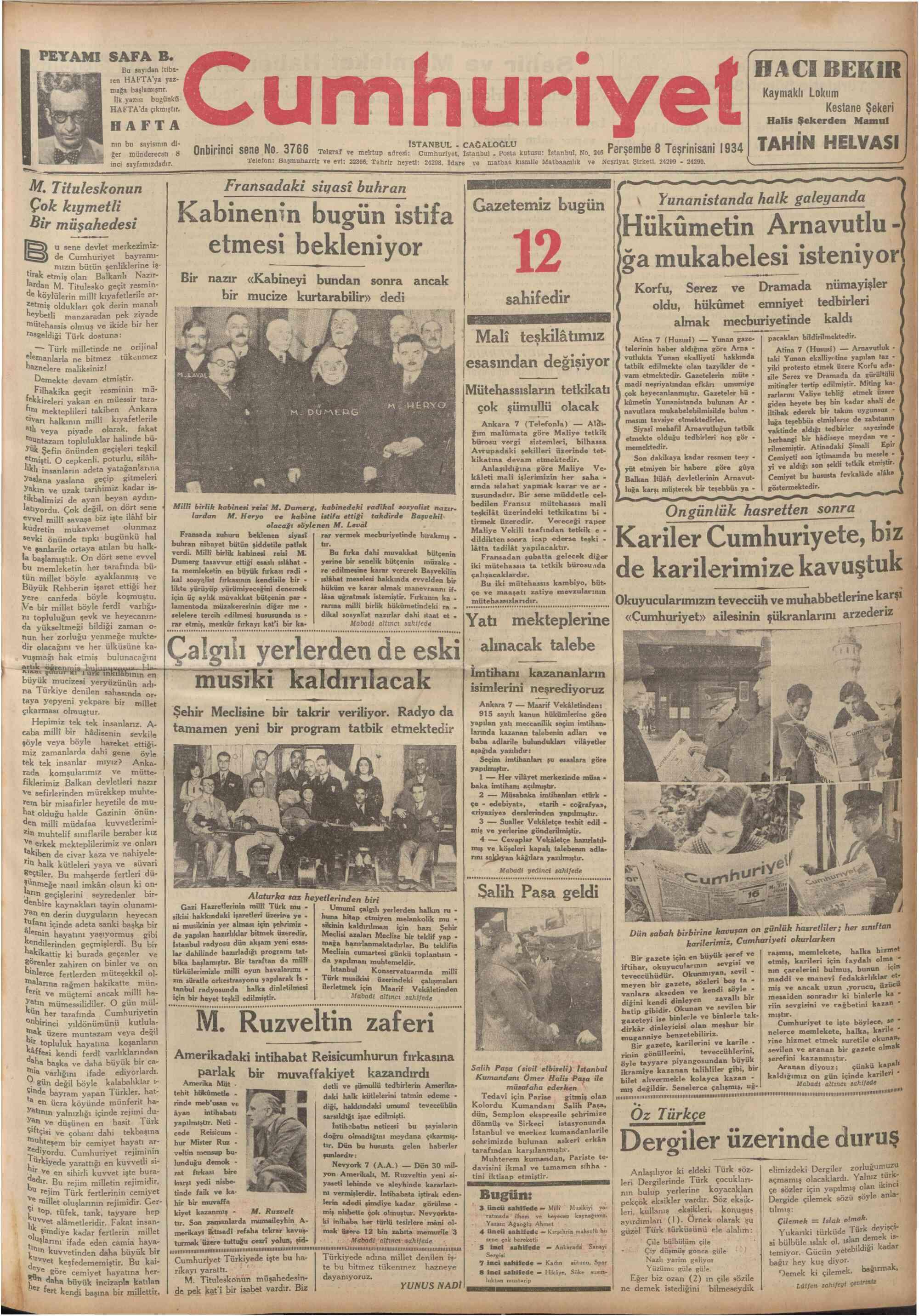 8 Kasım 1934 Tarihli Cumhuriyet Dergisi Sayfa 1