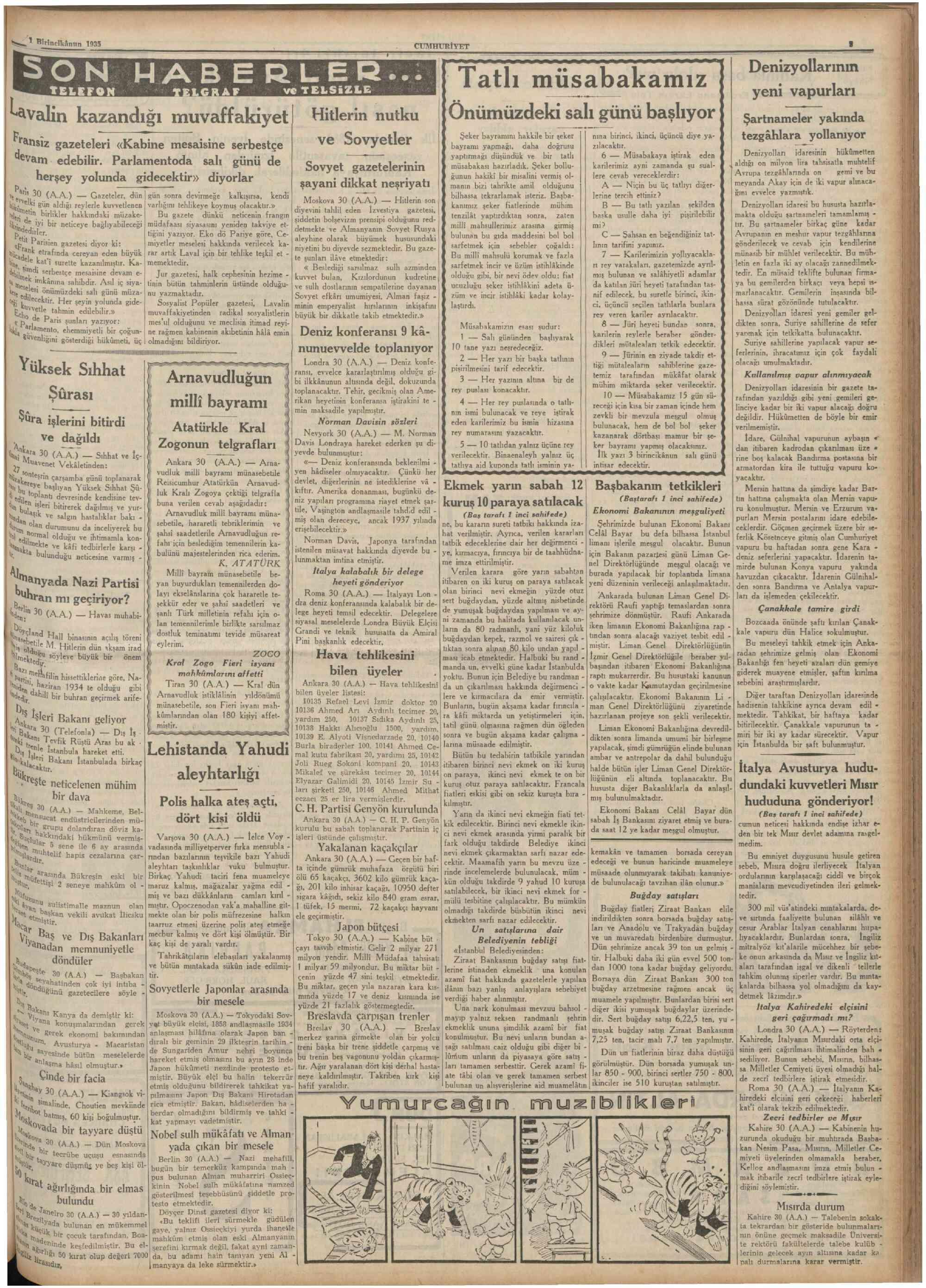 1 Aralık 1935 tarihli Cumhuriyet Gazetesi Sayfa 3