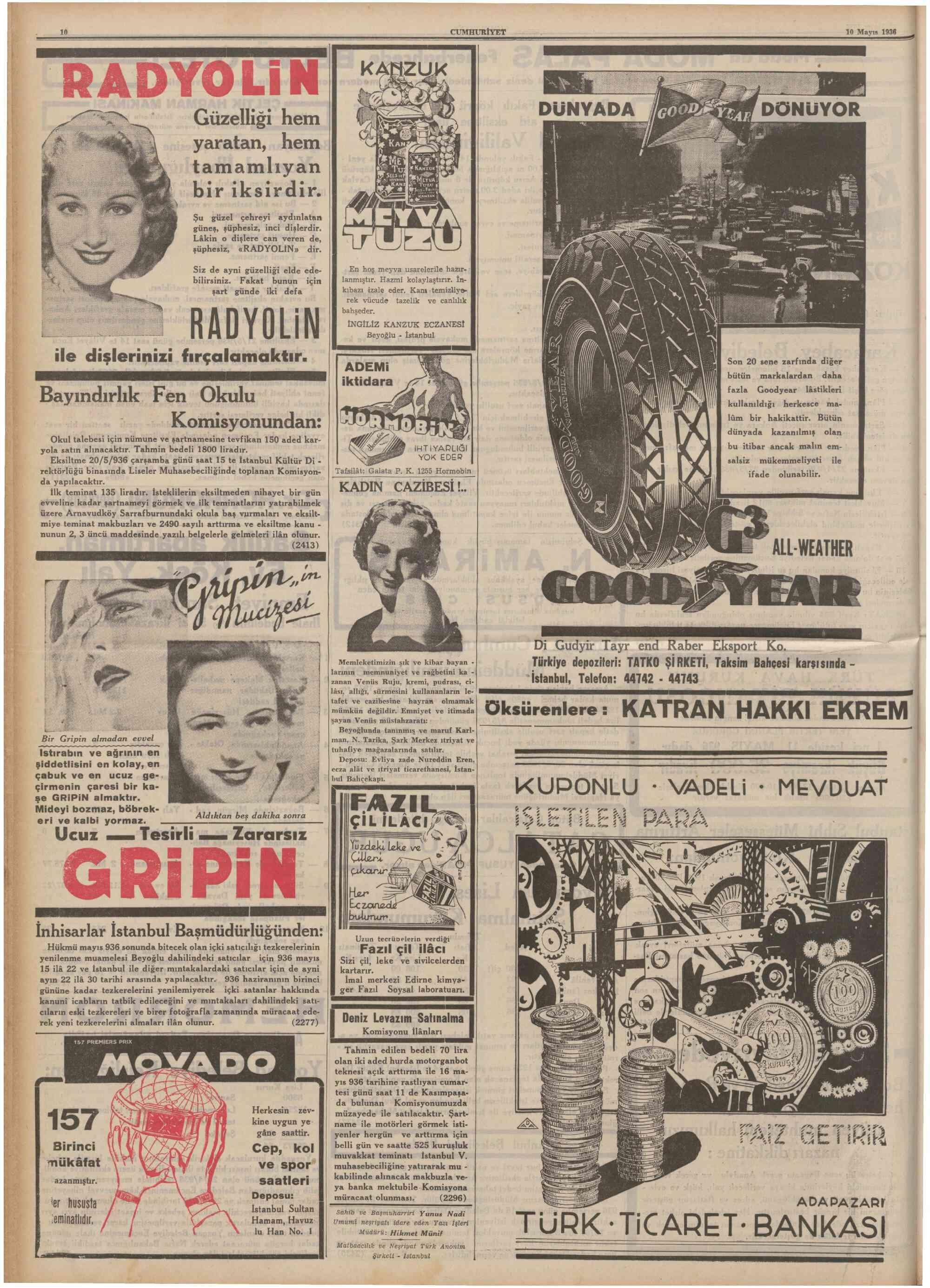11 Mayıs 1936 Tarihli Cumhuriyet Gazetesi Sayfa 1