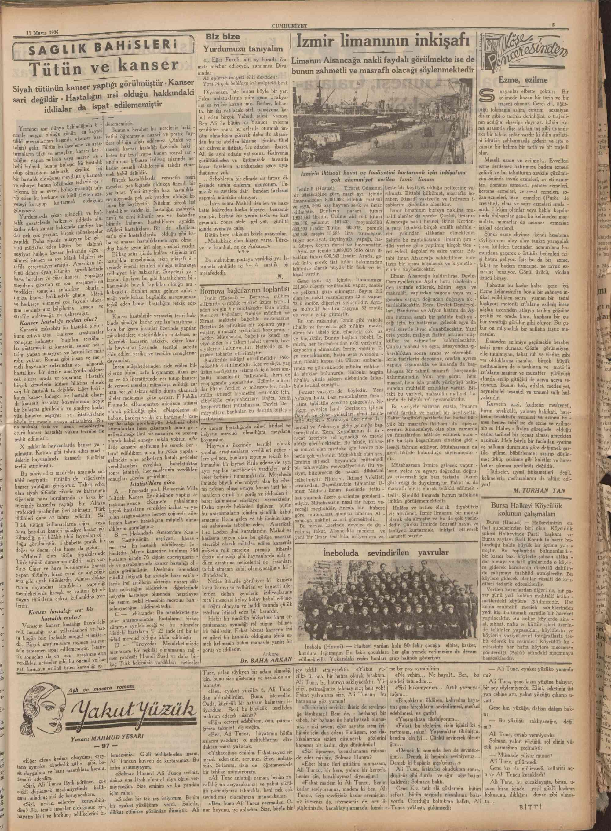 11 Mayıs 1936 Tarihli Cumhuriyet Gazetesi Sayfa 6