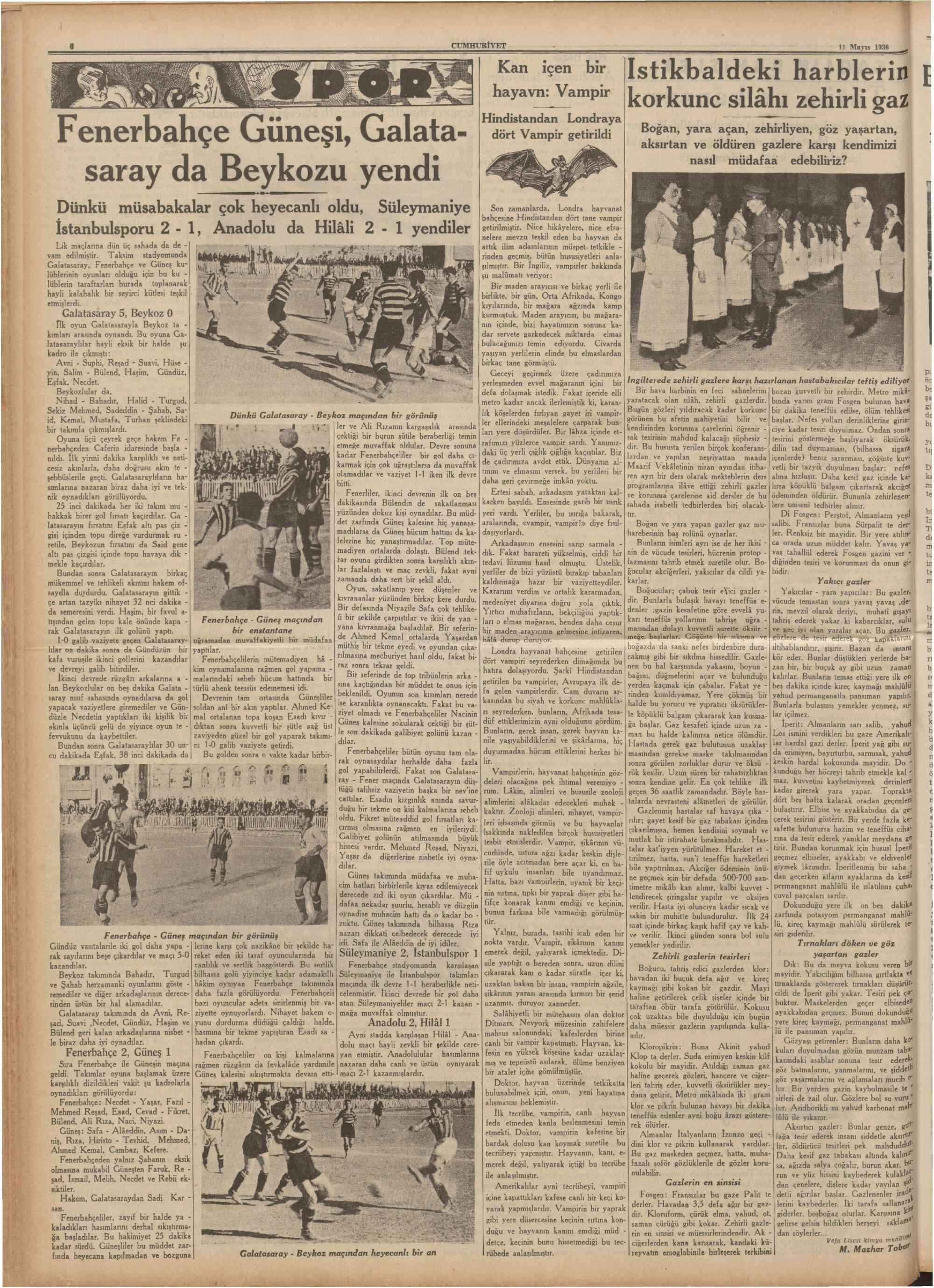 11 Mayıs 1936 Tarihli Cumhuriyet Dergisi Sayfa 7