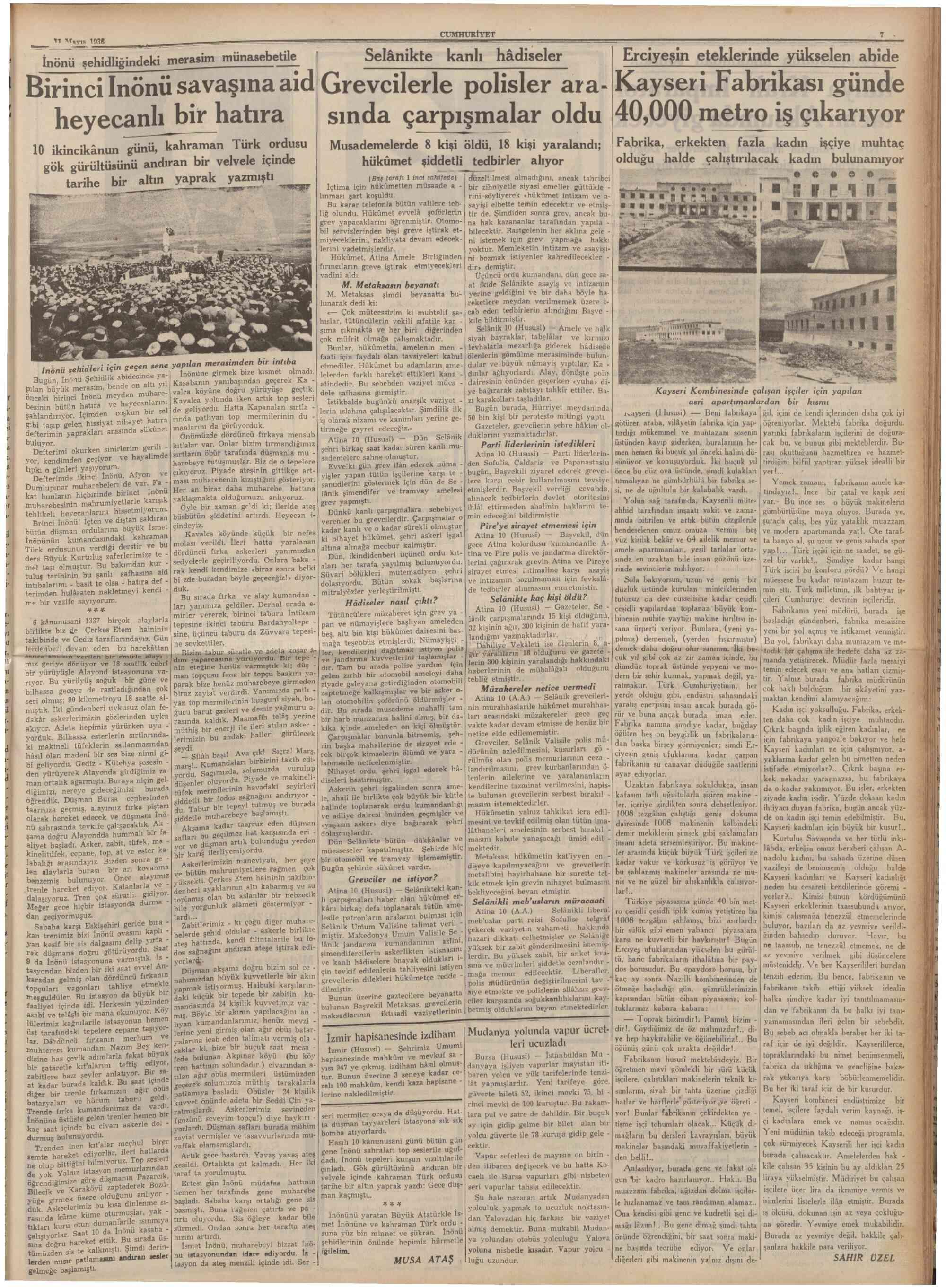 11 Mayıs 1936 Tarihli Cumhuriyet Gazetesi Sayfa 8