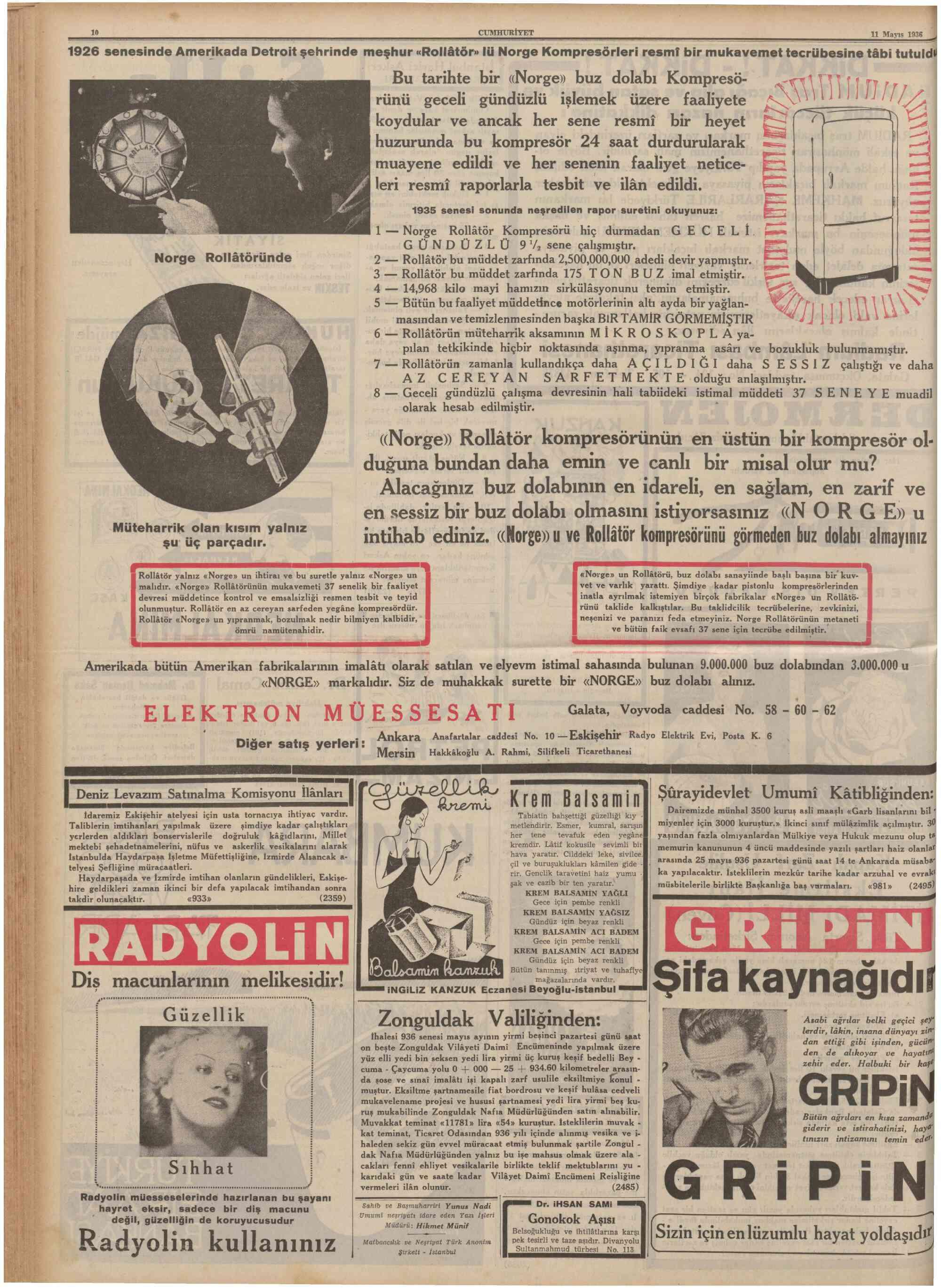 12 Mayıs 1936 Tarihli Cumhuriyet Gazetesi Sayfa 1