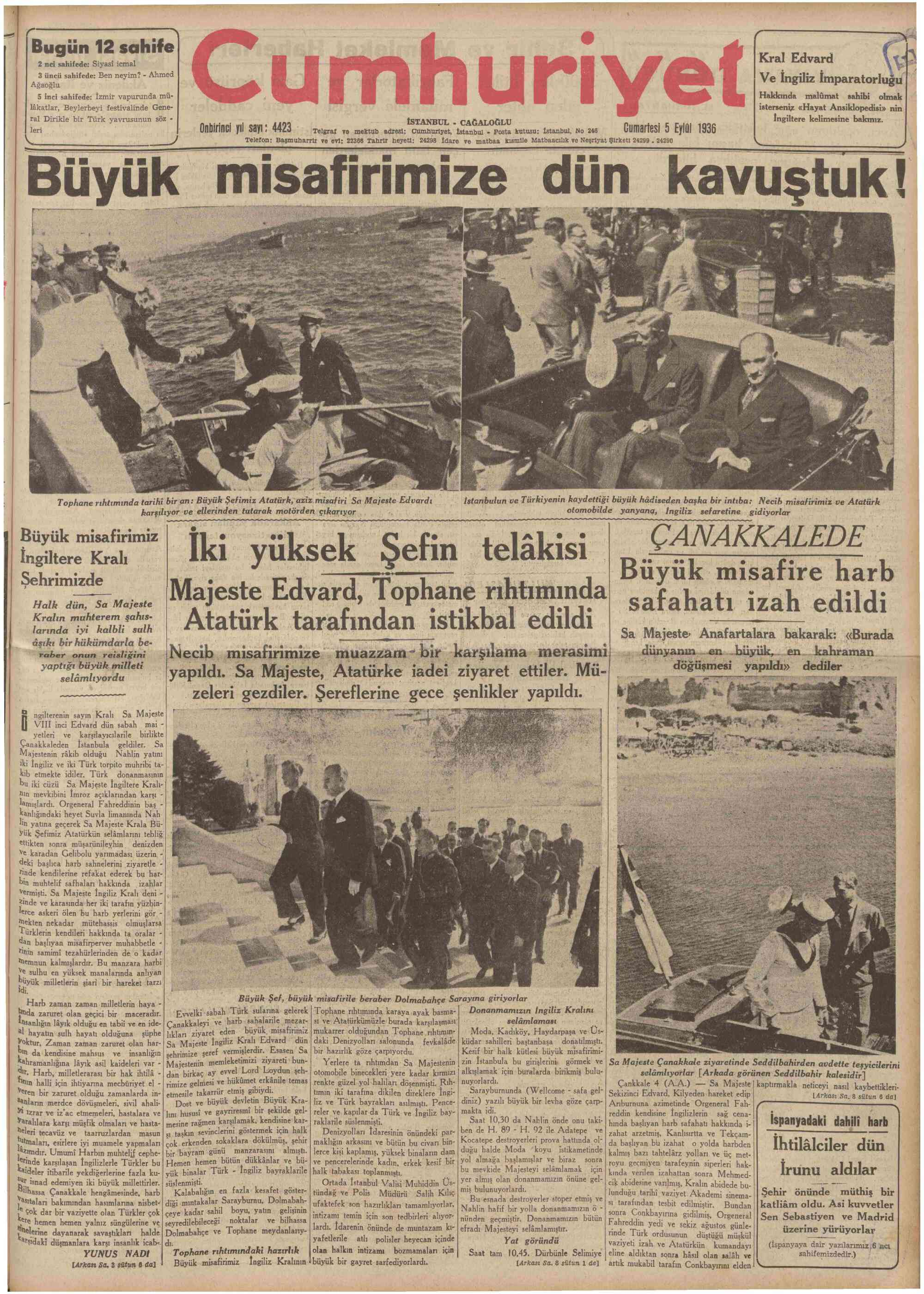 5 Eylül 1936 Tarihli Cumhuriyet Gazetesi Sayfa 1