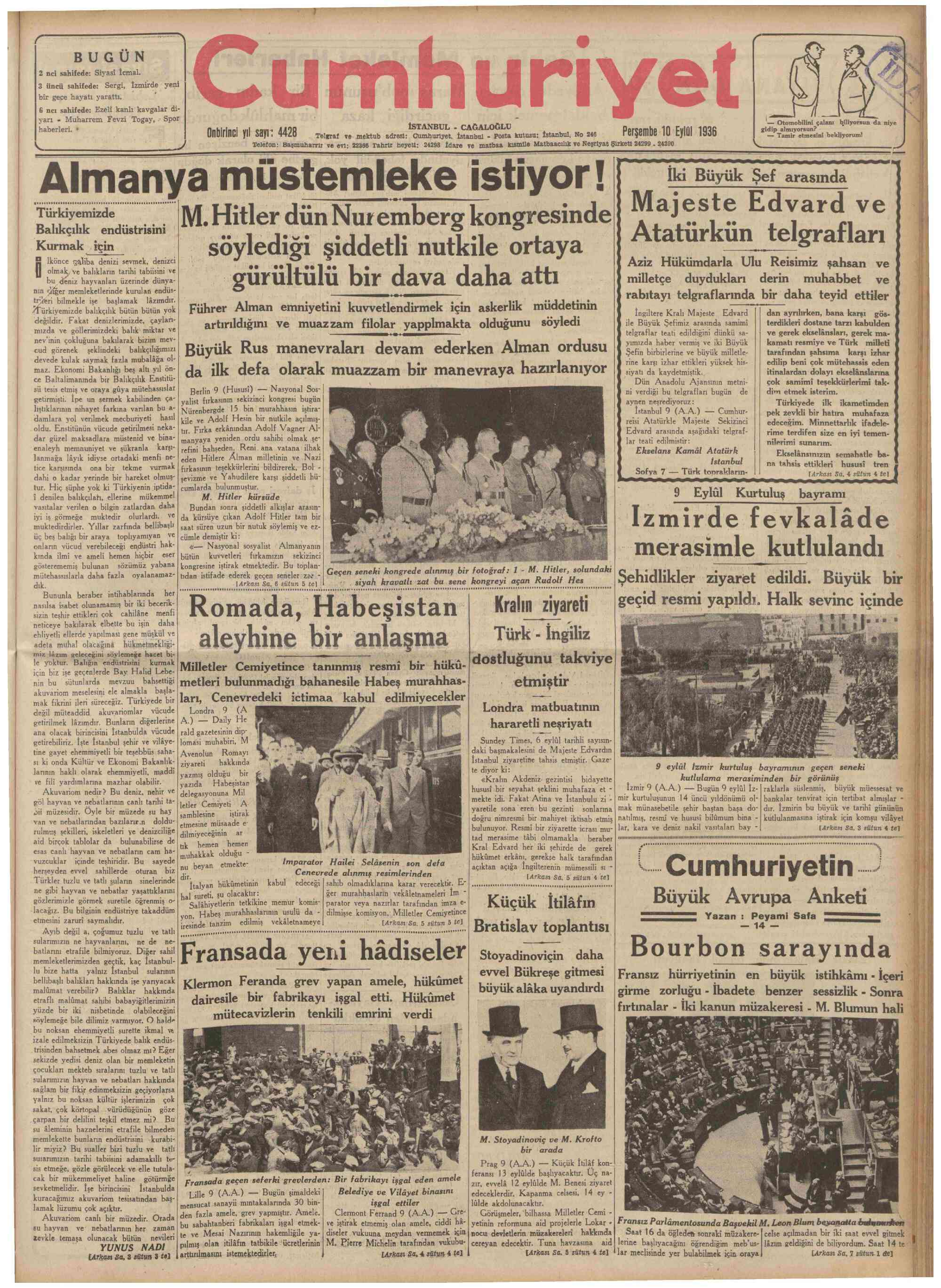 10 Eylül 1936 Tarihli Cumhuriyet Gazetesi Sayfa 1