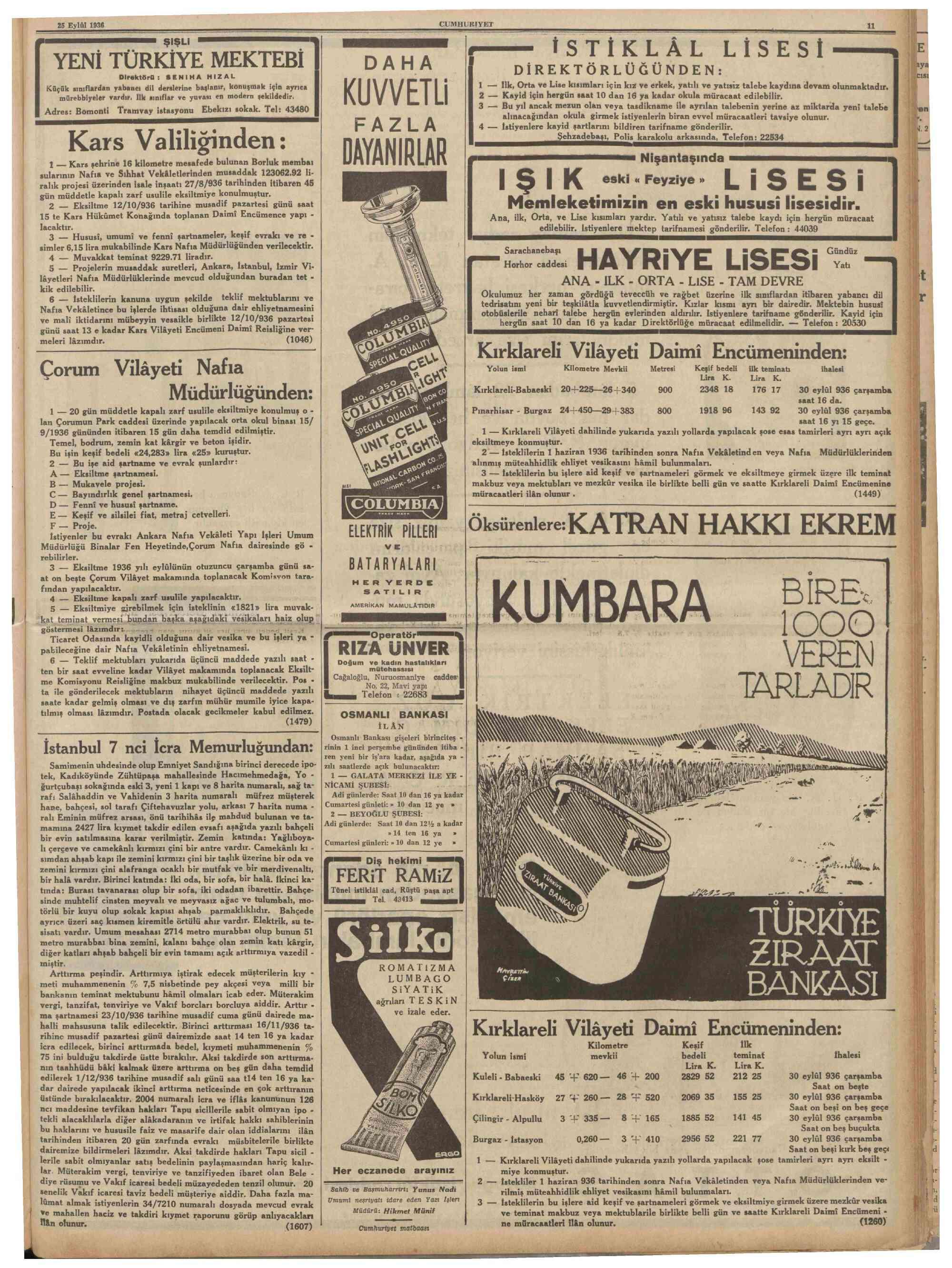 25 Eylül 1936 Tarihli Cumhuriyet Dergisi Sayfa 11