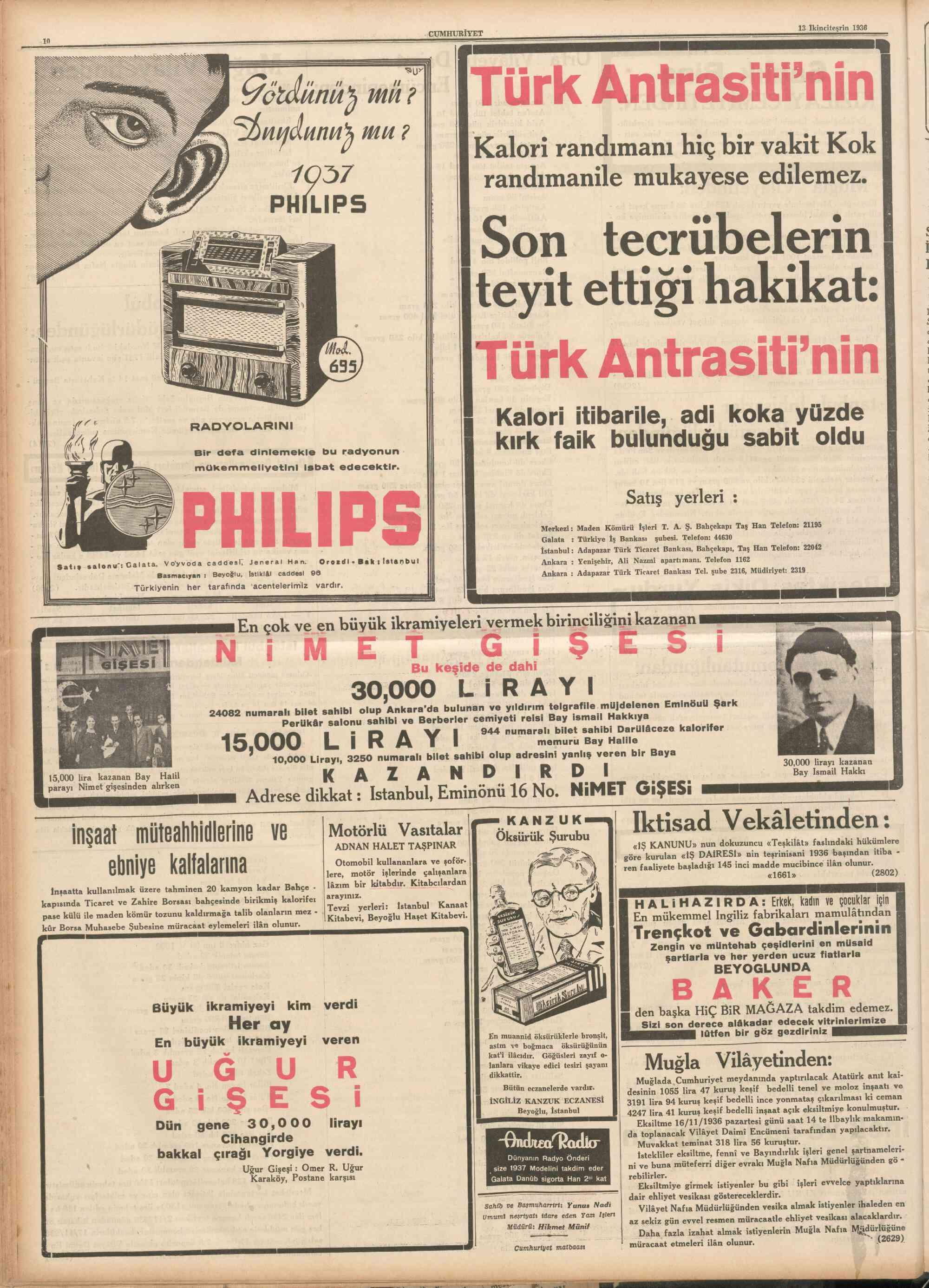 14 Kasım 1936 Tarihli Cumhuriyet Dergisi Sayfa 1