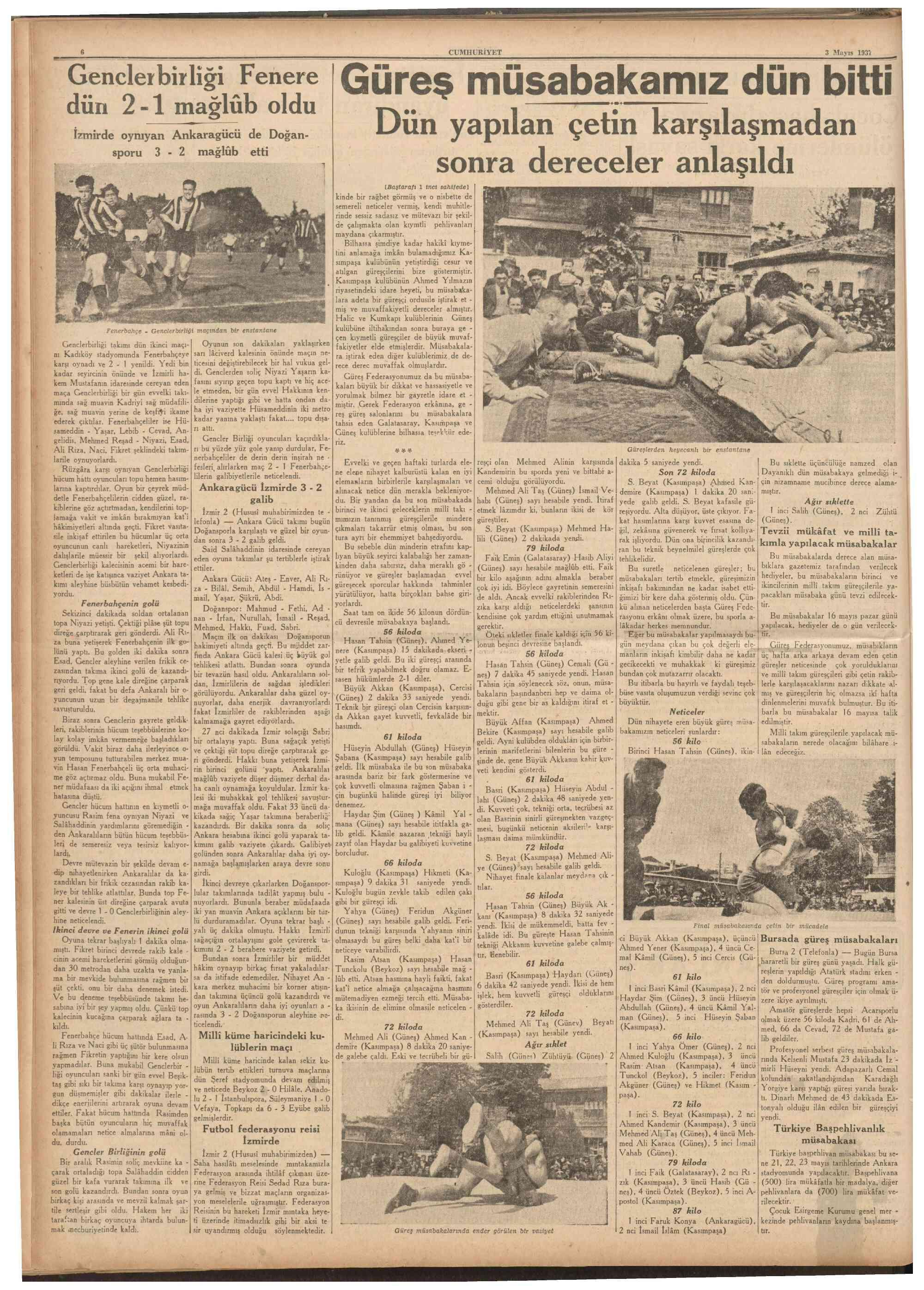 3 Mayıs 1937 Tarihli Cumhuriyet Dergisi Sayfa 6