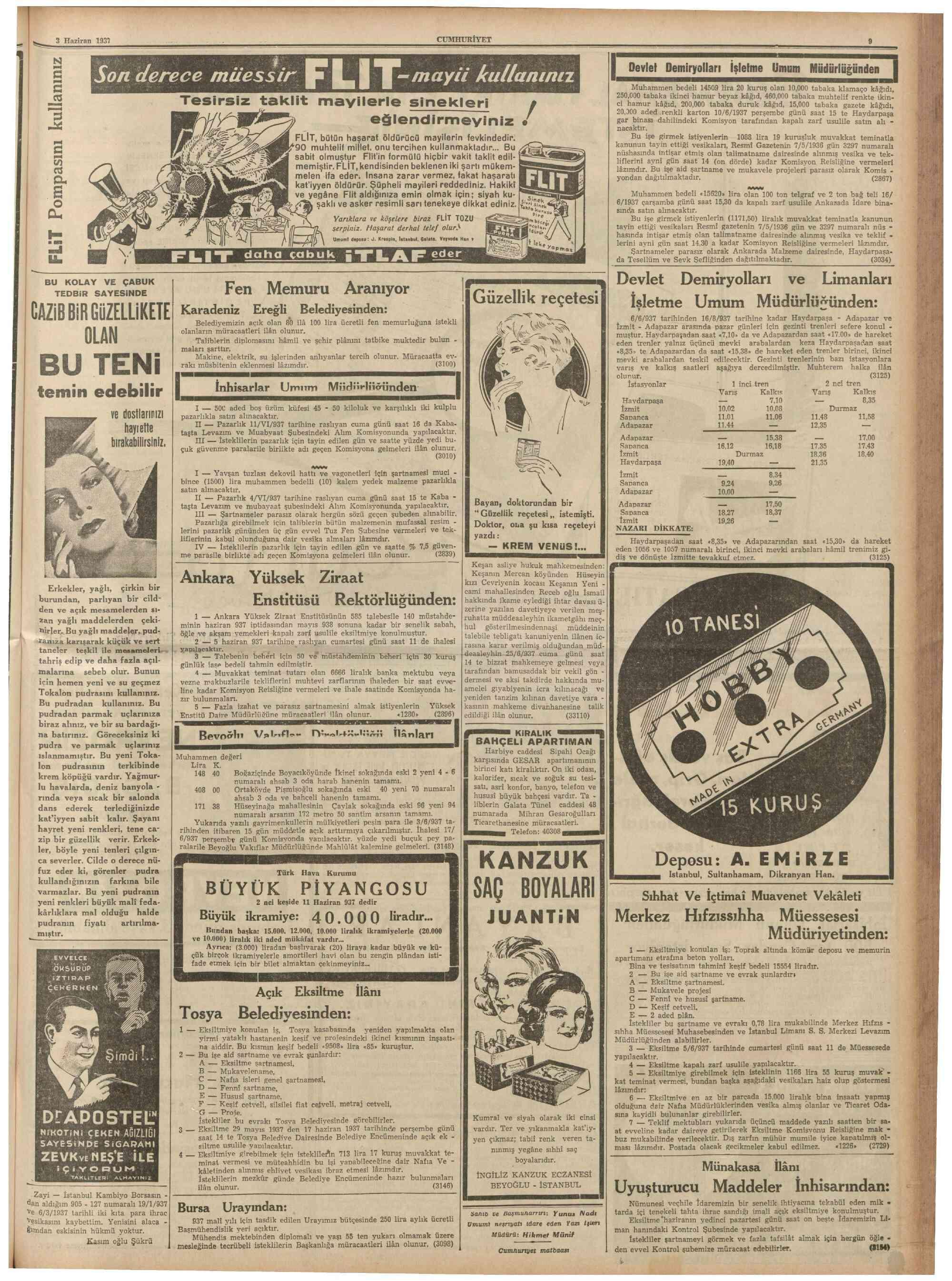 3 Haziran 1937 Tarihli Cumhuriyet Gazetesi Sayfa 9