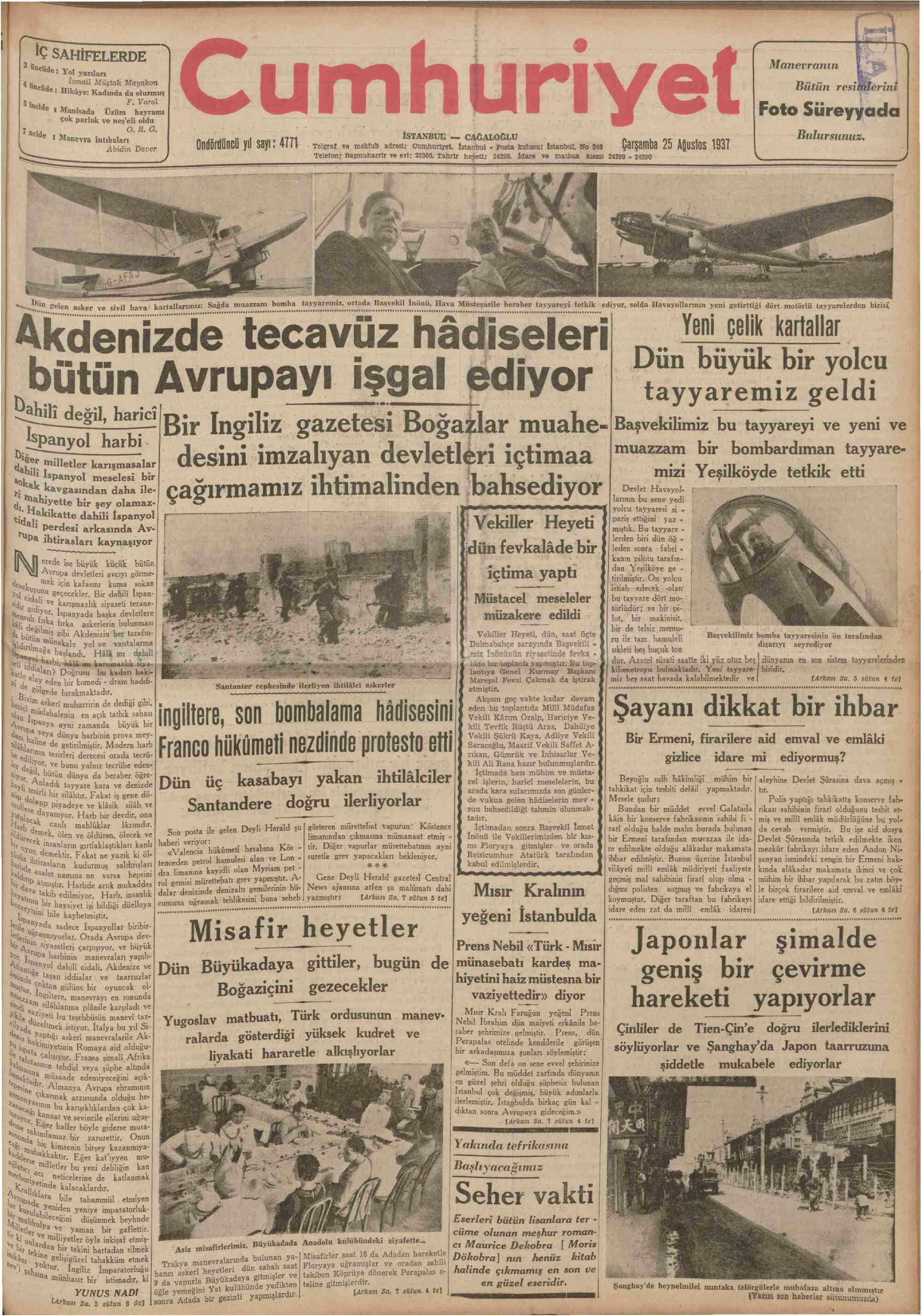 25 Ağustos 1937 Tarihli Cumhuriyet Gazetesi Sayfa 1