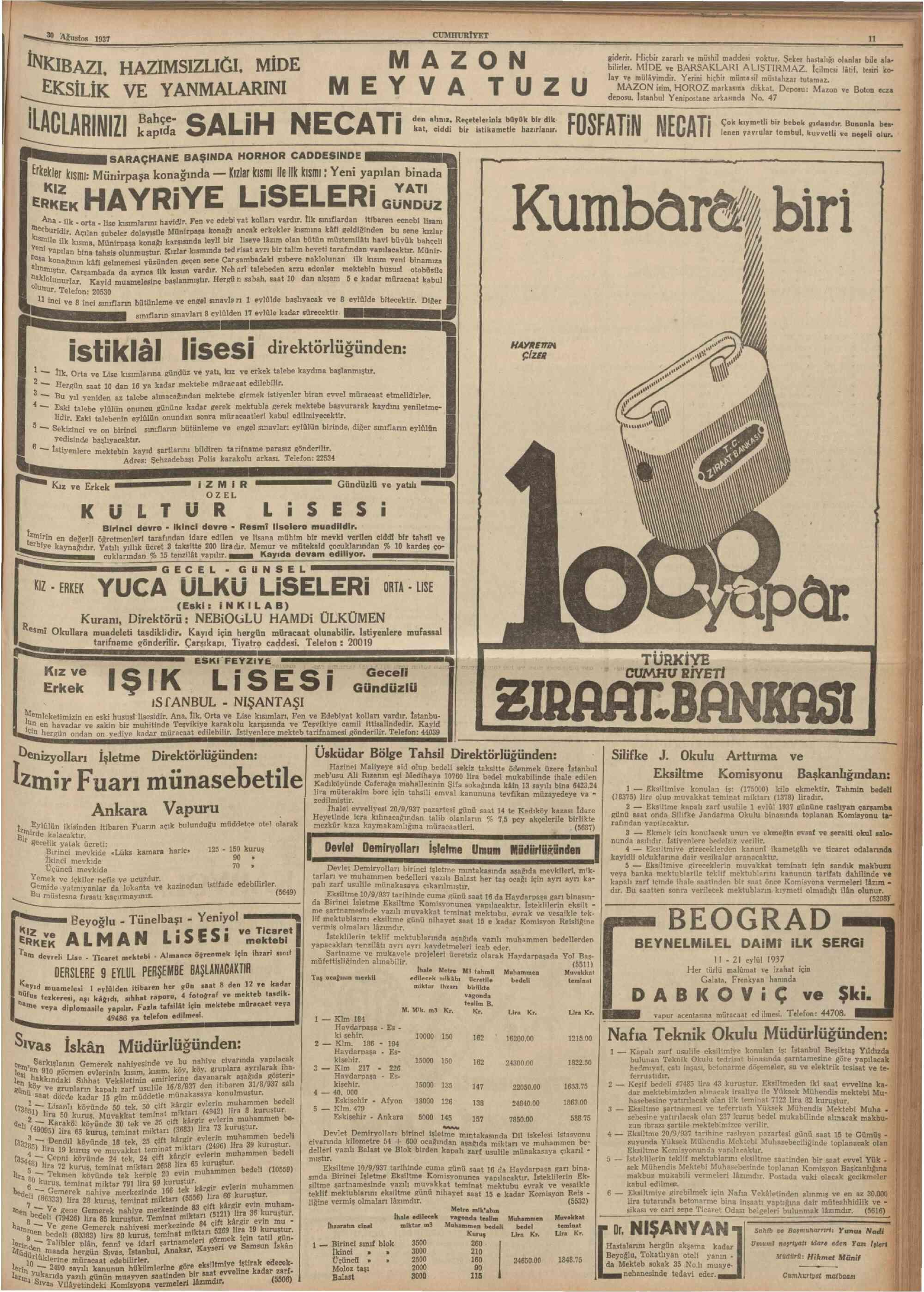 30 Ağustos 1937 Tarihli Cumhuriyet Dergisi Sayfa 11