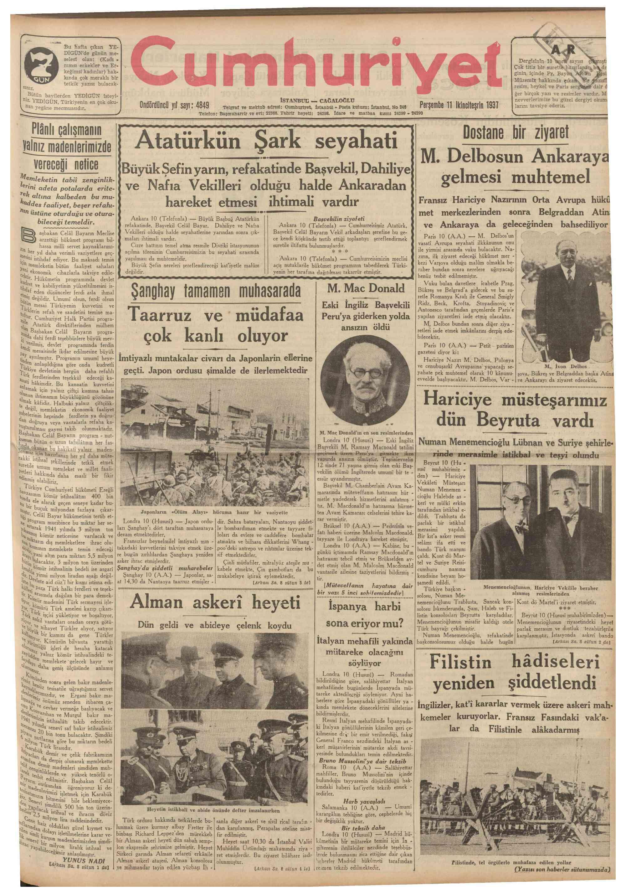 11 Kasım 1937 Tarihli Cumhuriyet Gazetesi Sayfa 1