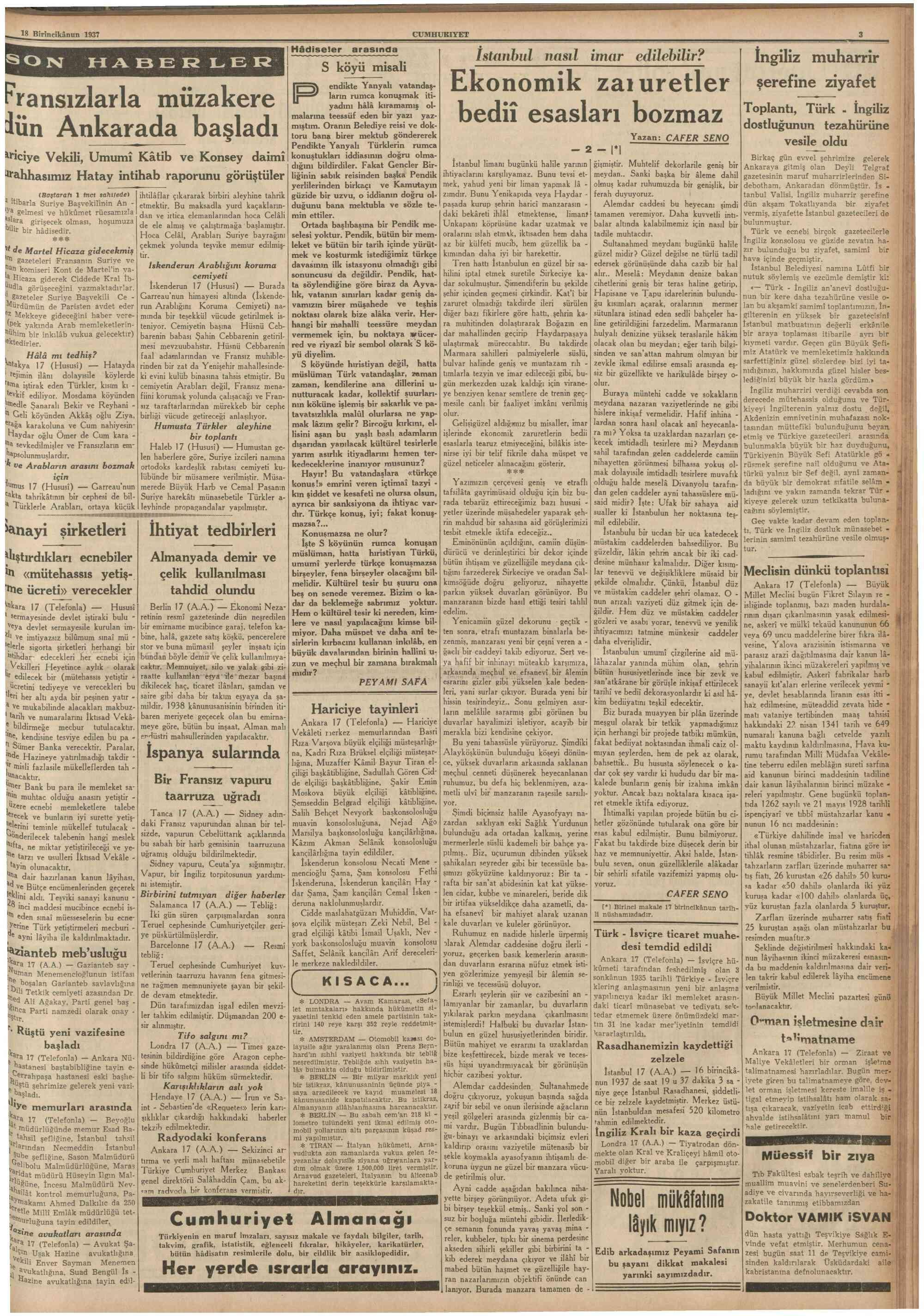 18 Aralık 1937 Tarihli Cumhuriyet Dergisi Sayfa 3