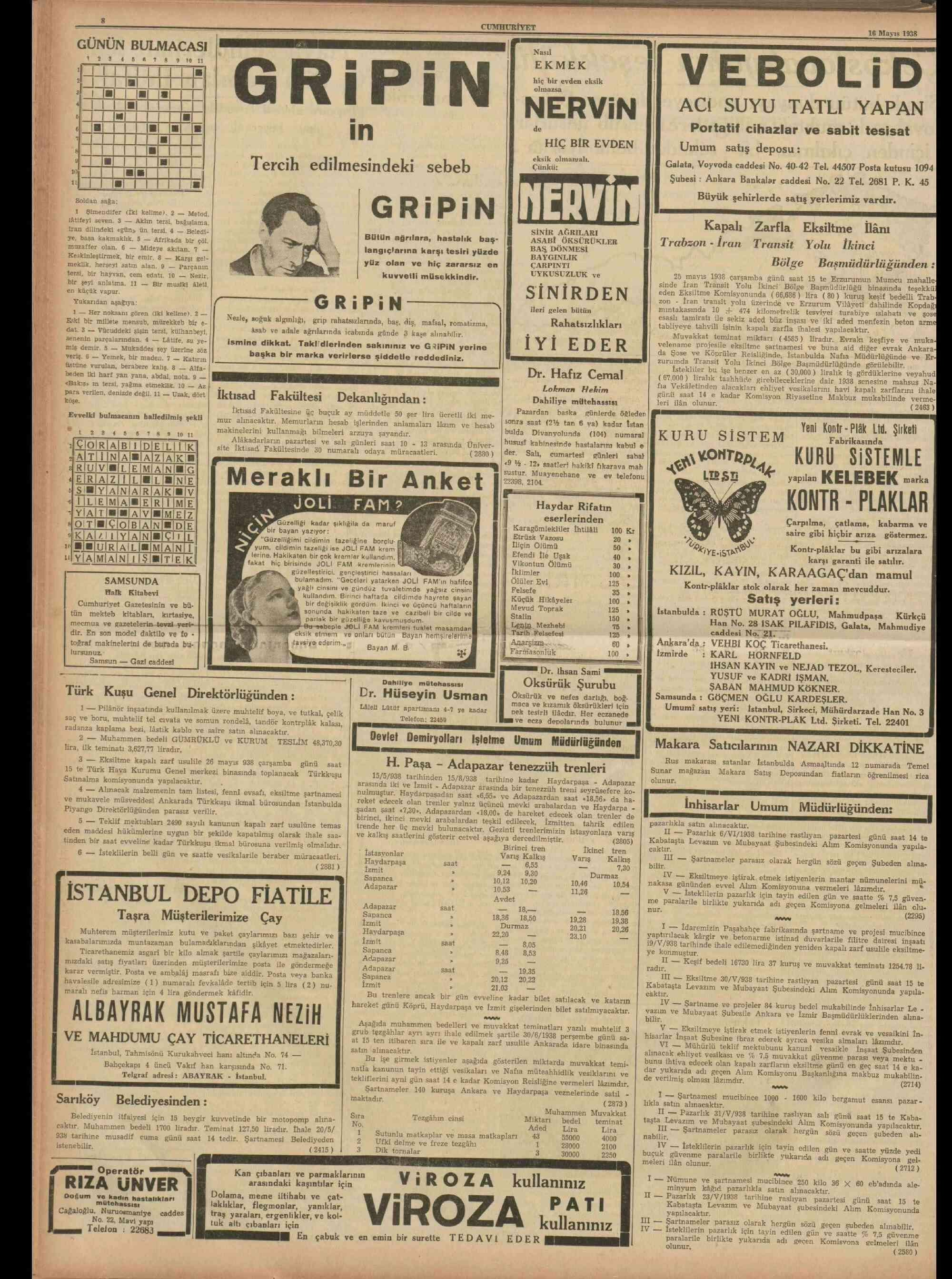 16 Mayıs 1938 Tarihli Cumhuriyet Gazetesi Sayfa 8