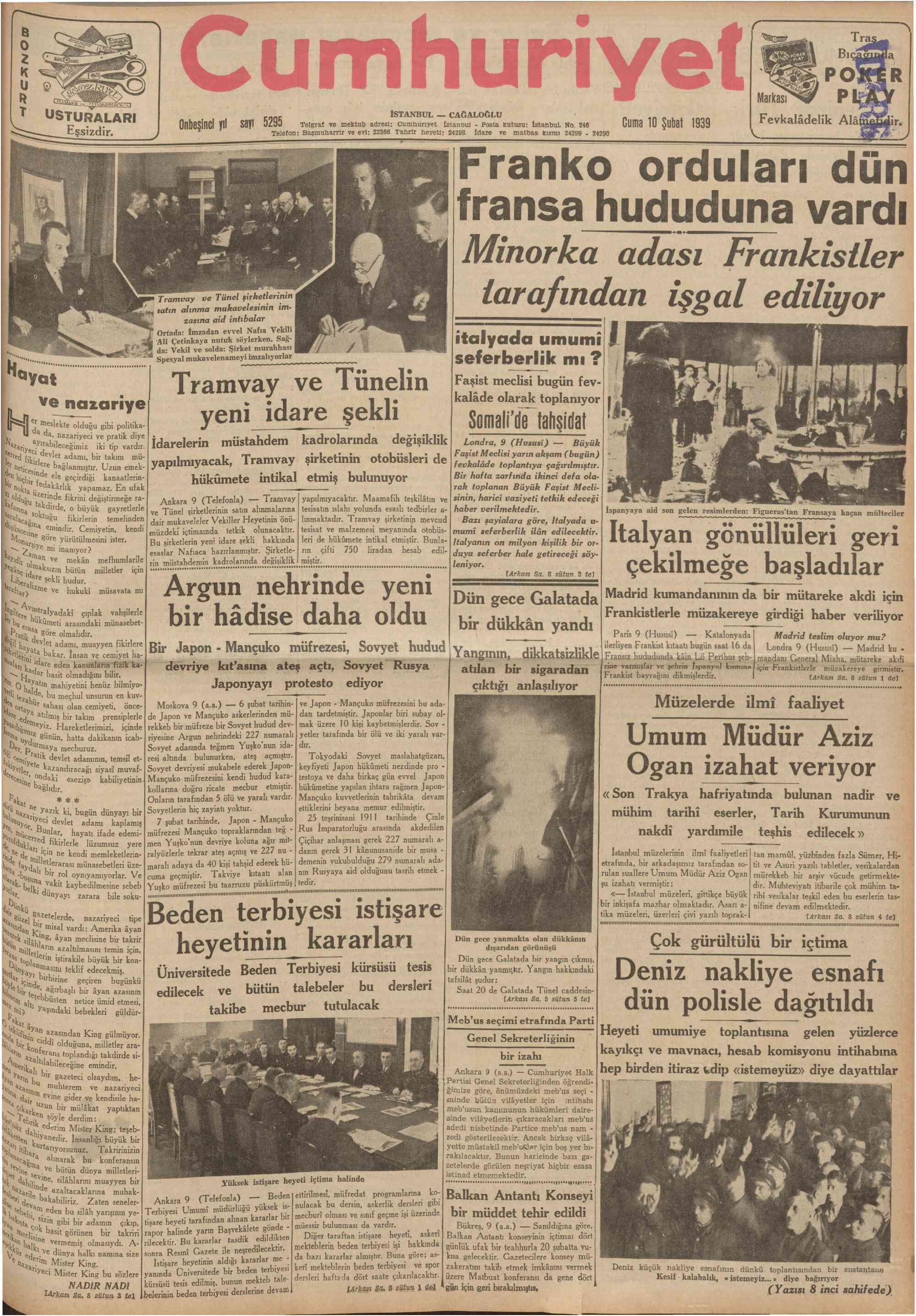 10 Şubat 1939 Tarihli Cumhuriyet Gazetesi Sayfa 1