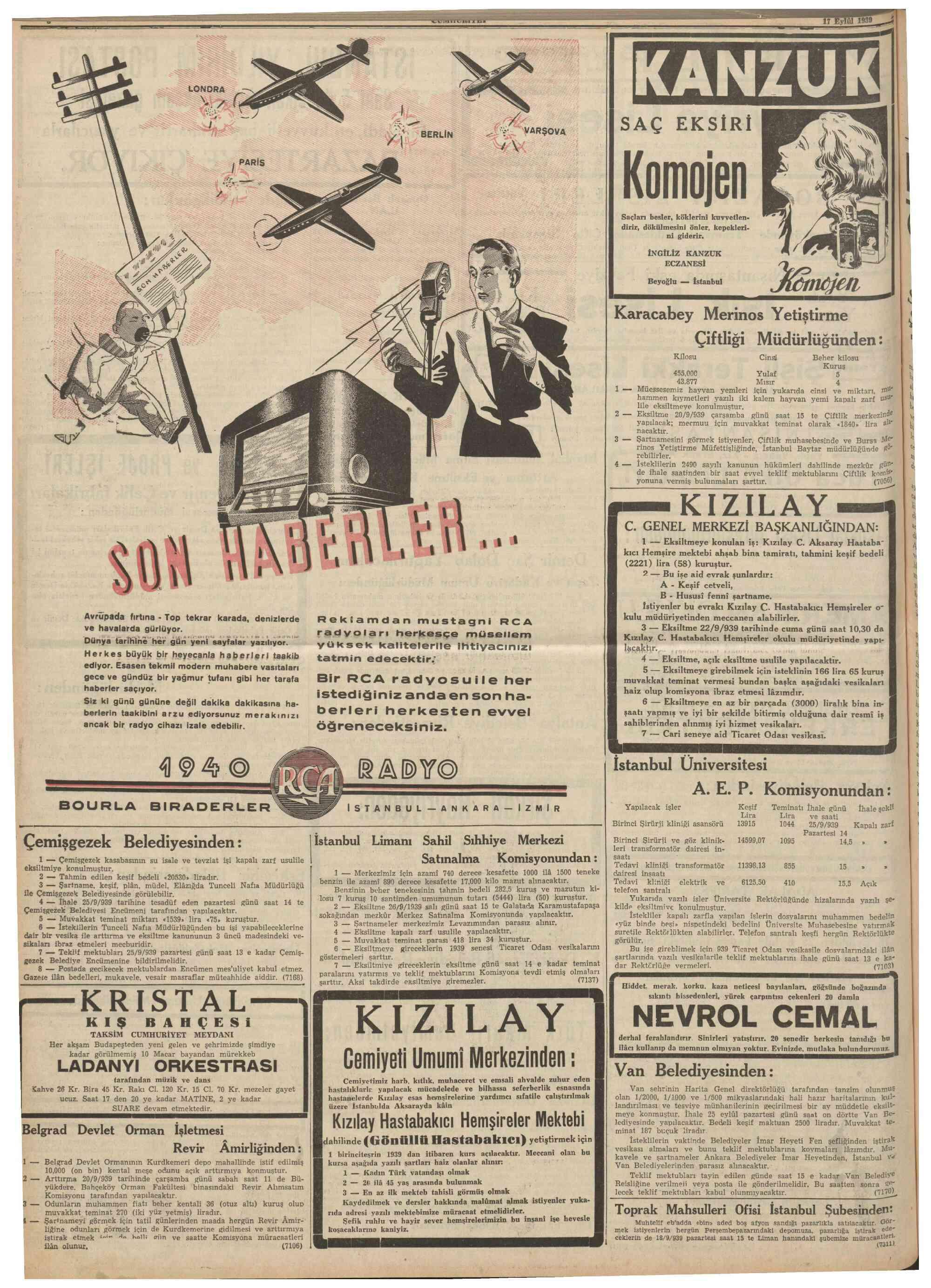 18 Eylül 1939 Tarihli Cumhuriyet Dergisi Sayfa 1