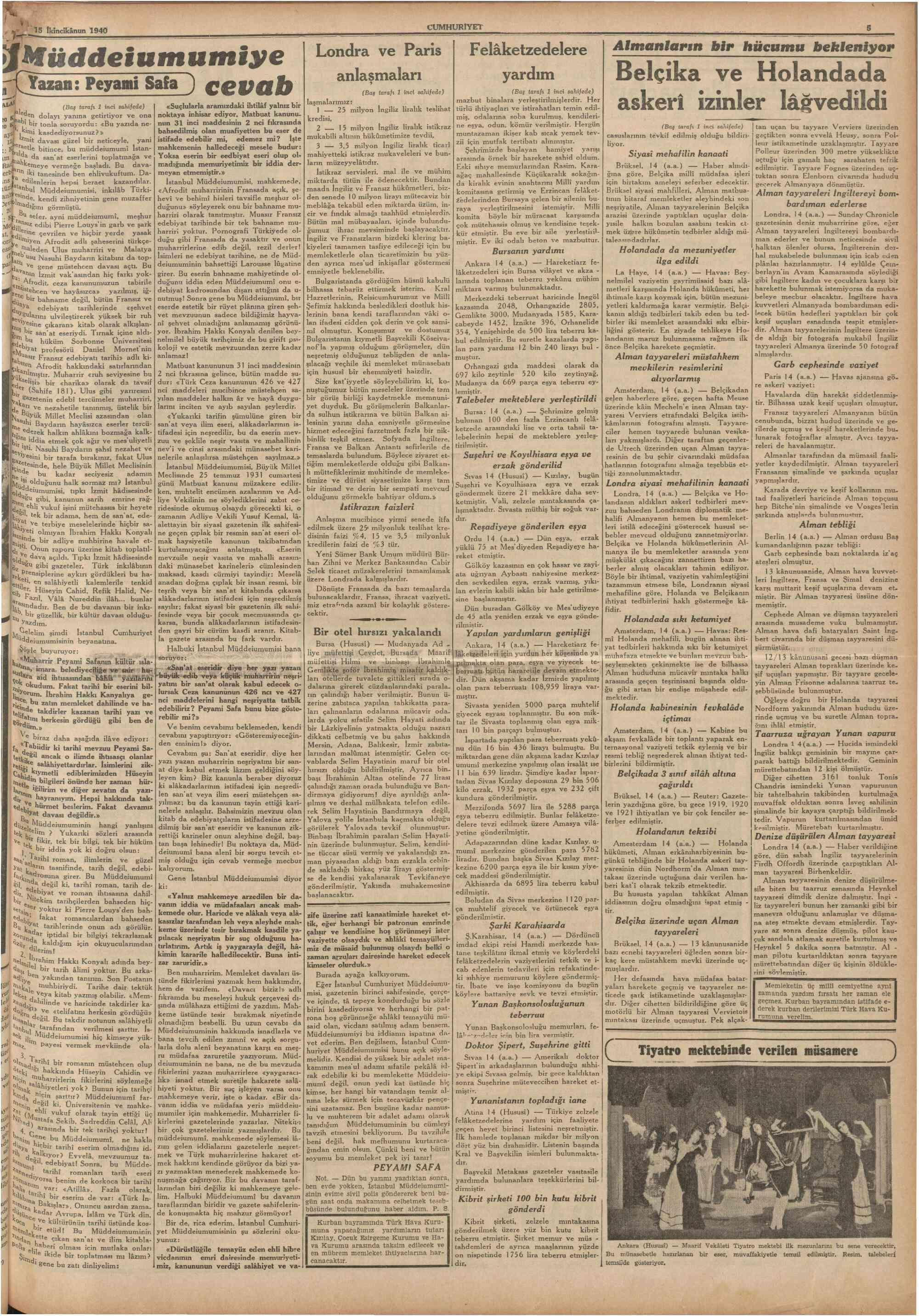 15 Ocak 1940 Tarihli Cumhuriyet Gazetesi Sayfa 5