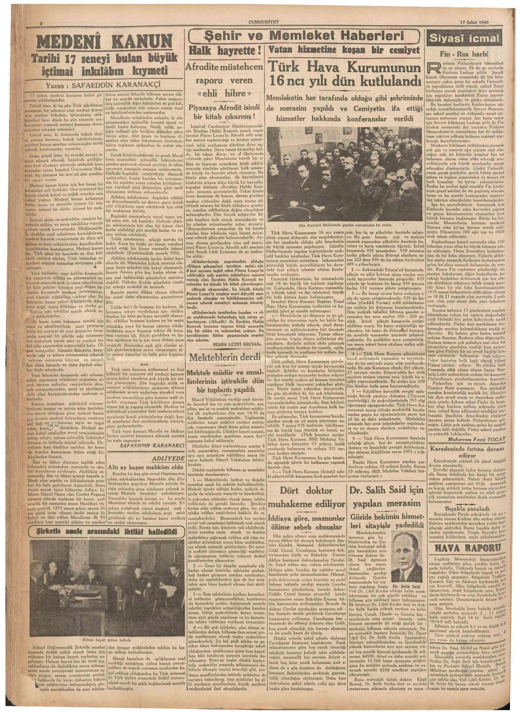 17 Şubat 1940 Tarihli Cumhuriyet Gazetesi Sayfa 2