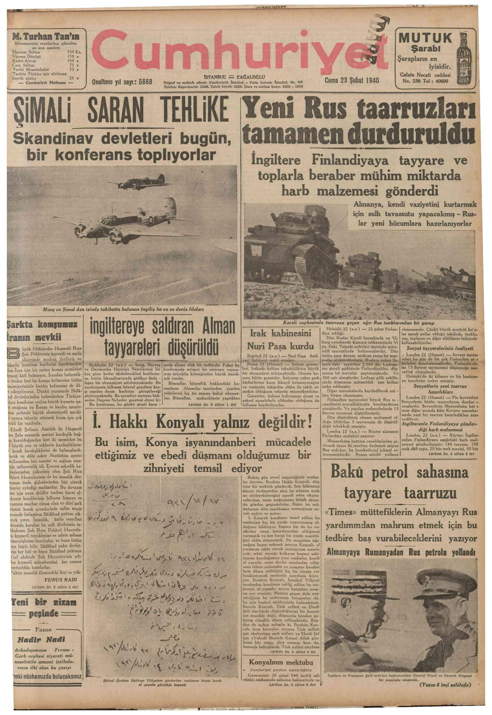 23 Şubat 1940 Tarihli Cumhuriyet Gazetesi Sayfa 1
