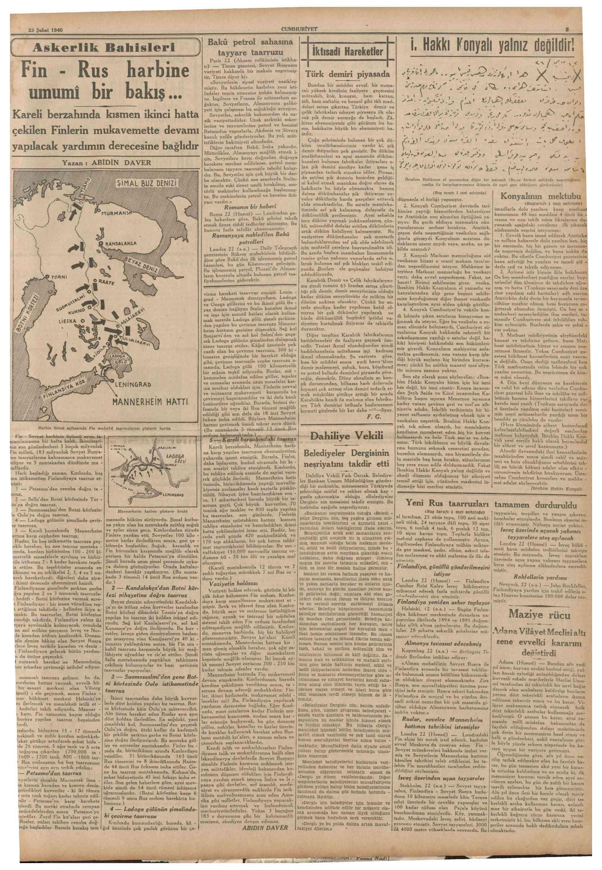 23 Şubat 1940 Tarihli Cumhuriyet Gazetesi Sayfa 5