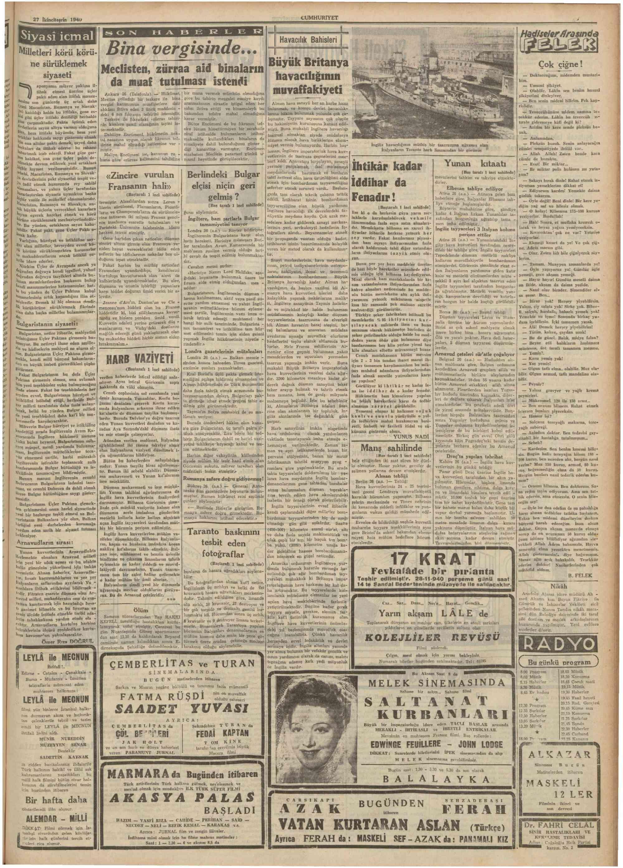 27 Kasım 1940 Tarihli Cumhuriyet Gazetesi Sayfa 13