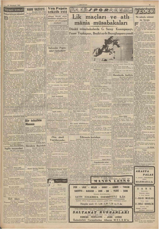 27 Kasım 1940 Tarihli Cumhuriyet Gazetesi Sayfa 5