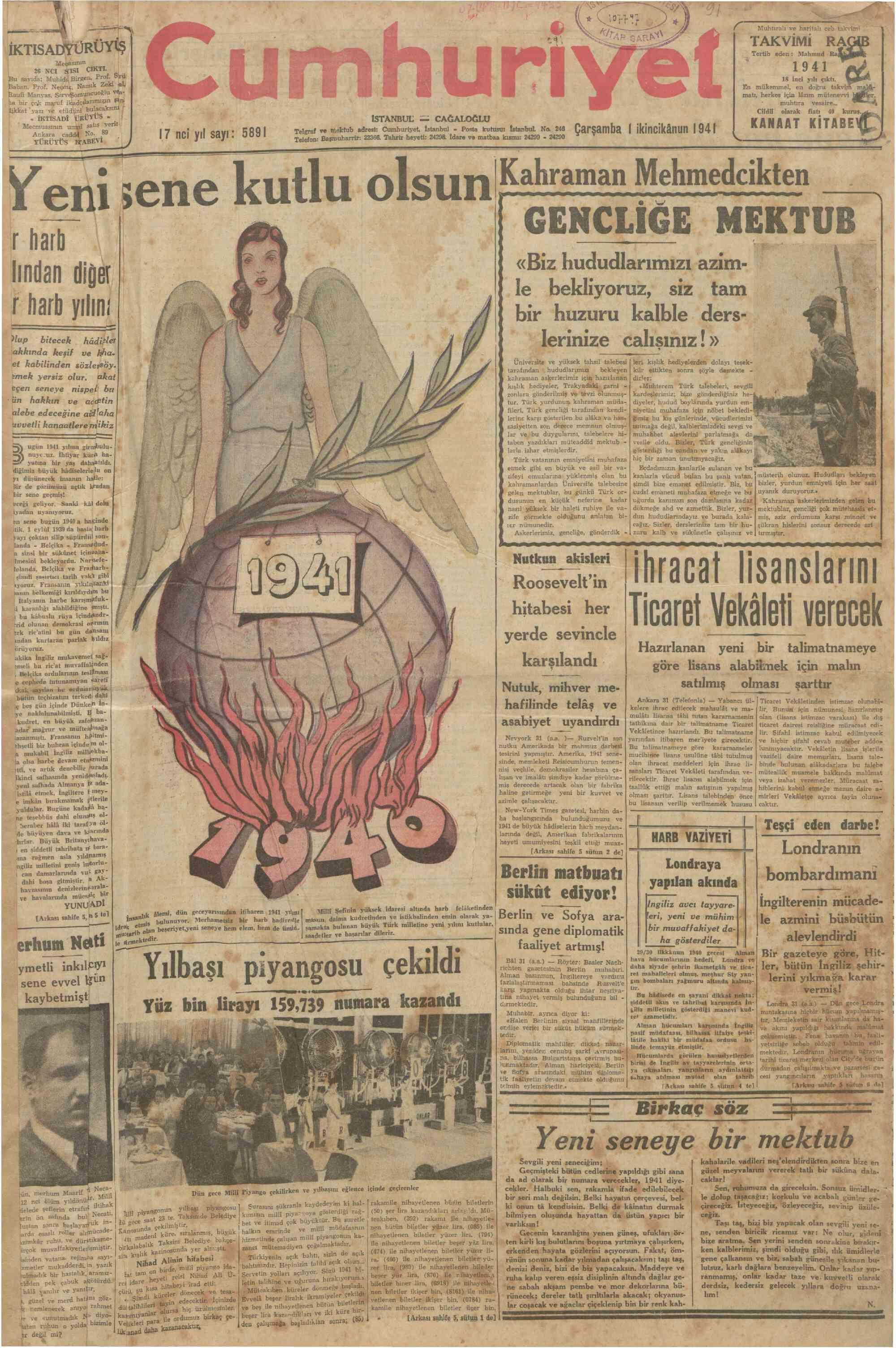 1 Ocak 1941 Tarihli Cumhuriyet Gazetesi Sayfa 1