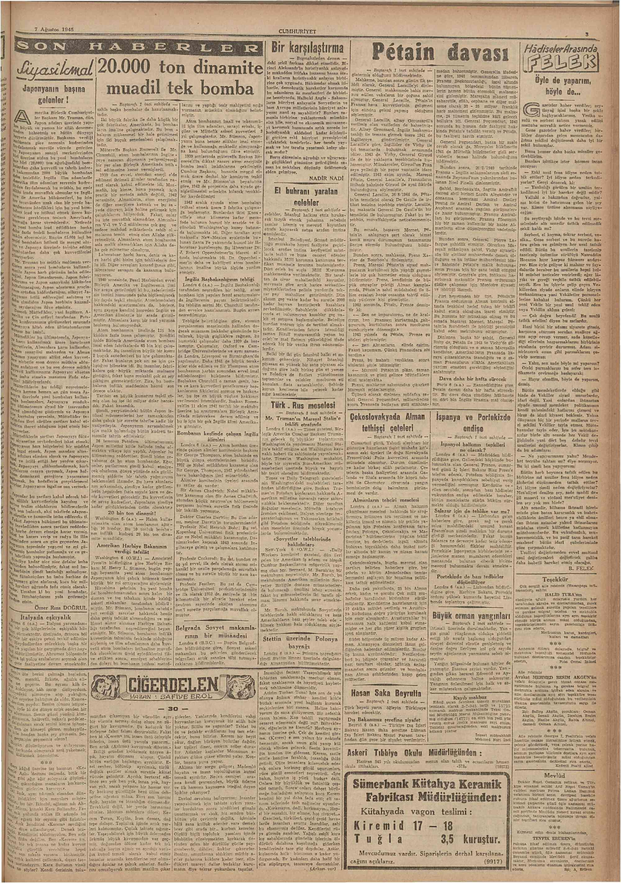 Cumhuriyet 7 Ağustos 1945 Sayfa 3 | Gaste Arşivi