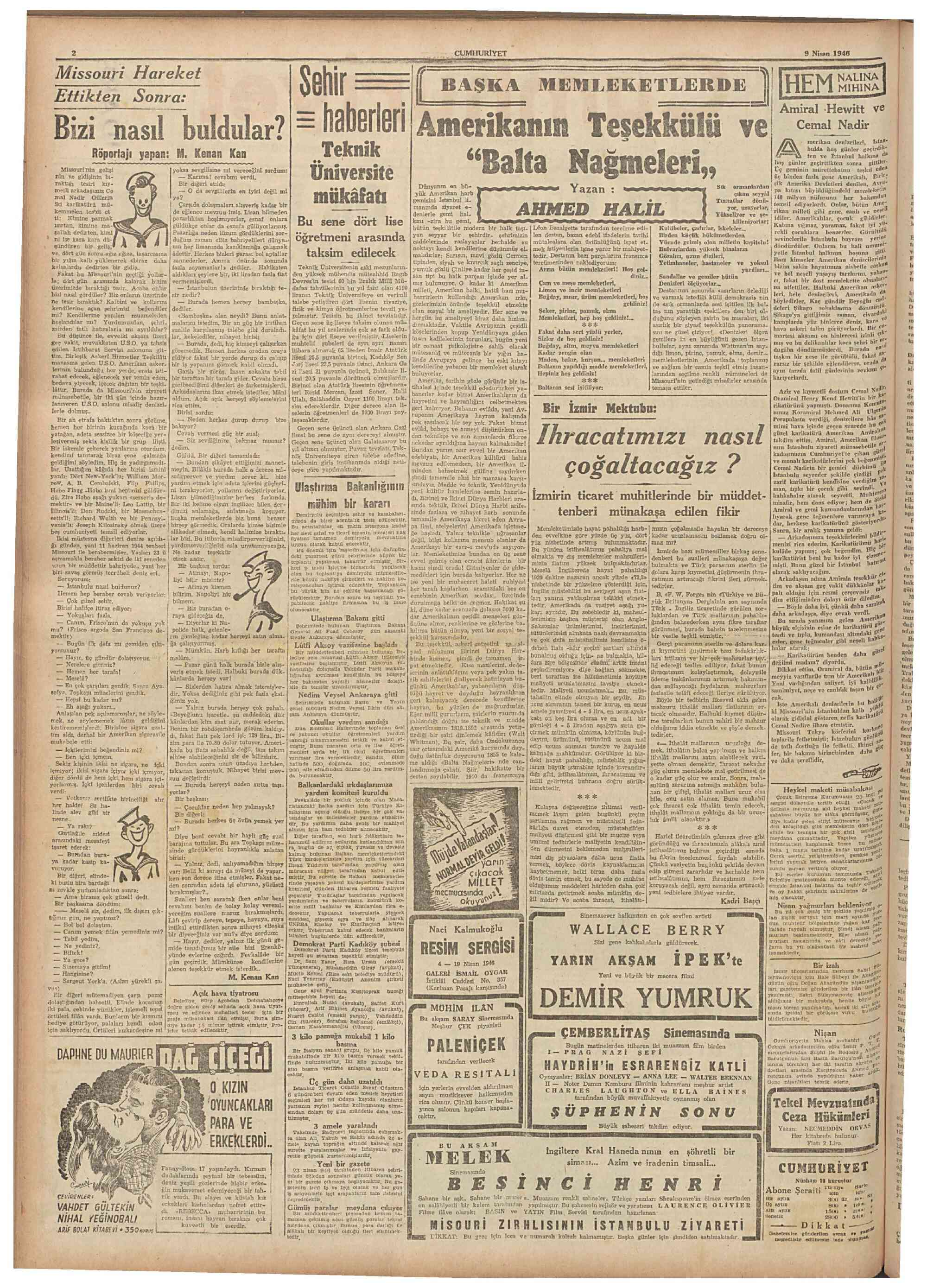 10 Nisan 1946 tarihli Cumhuriyet Gazetesi Sayfa 2