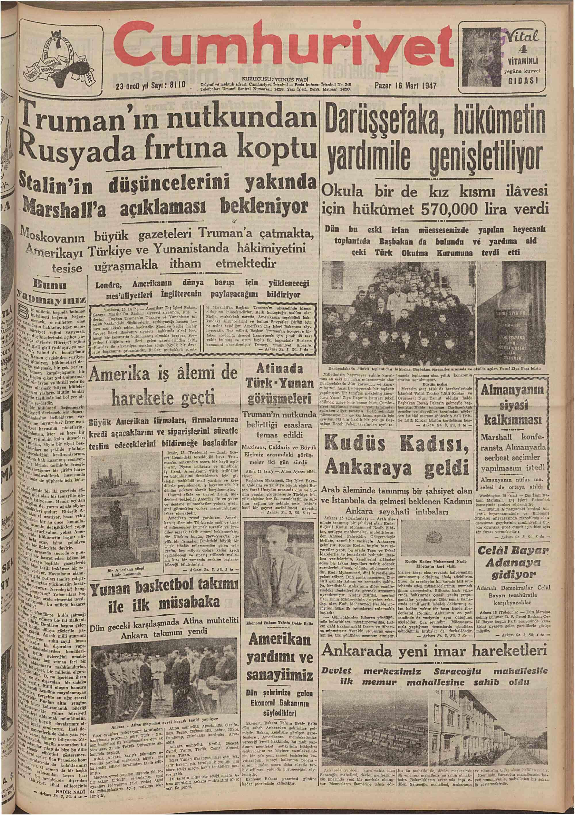 16 Mart 1947 Tarihli Cumhuriyet Gazetesi Sayfa 1