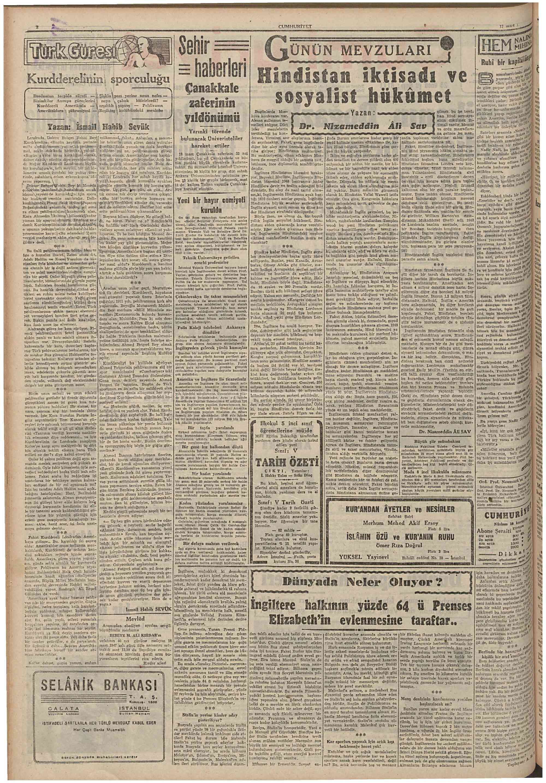 17 Mart 1947 Tarihli Cumhuriyet Gazetesi Sayfa 2